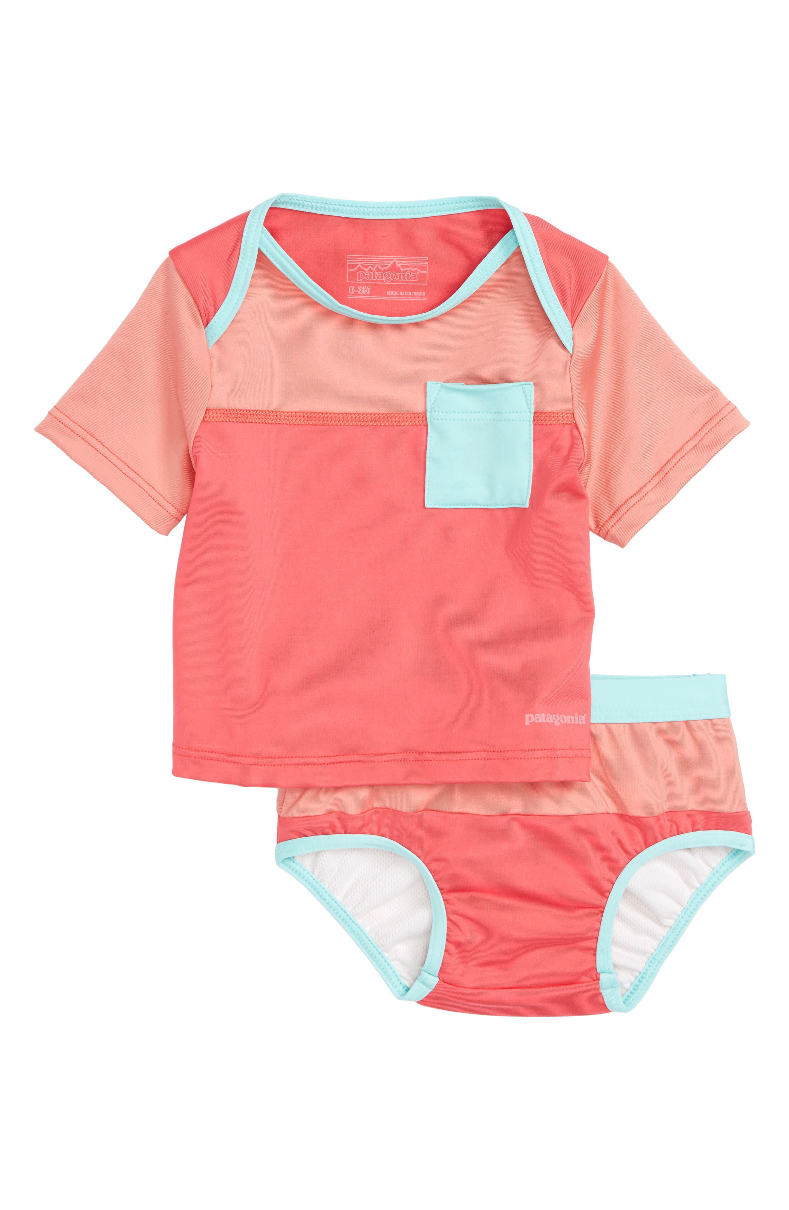 'Little Sol' Two-Piece Rashguard Swimsuit,                             Main thumbnail 1, color,                             Srap Sierra Pink
