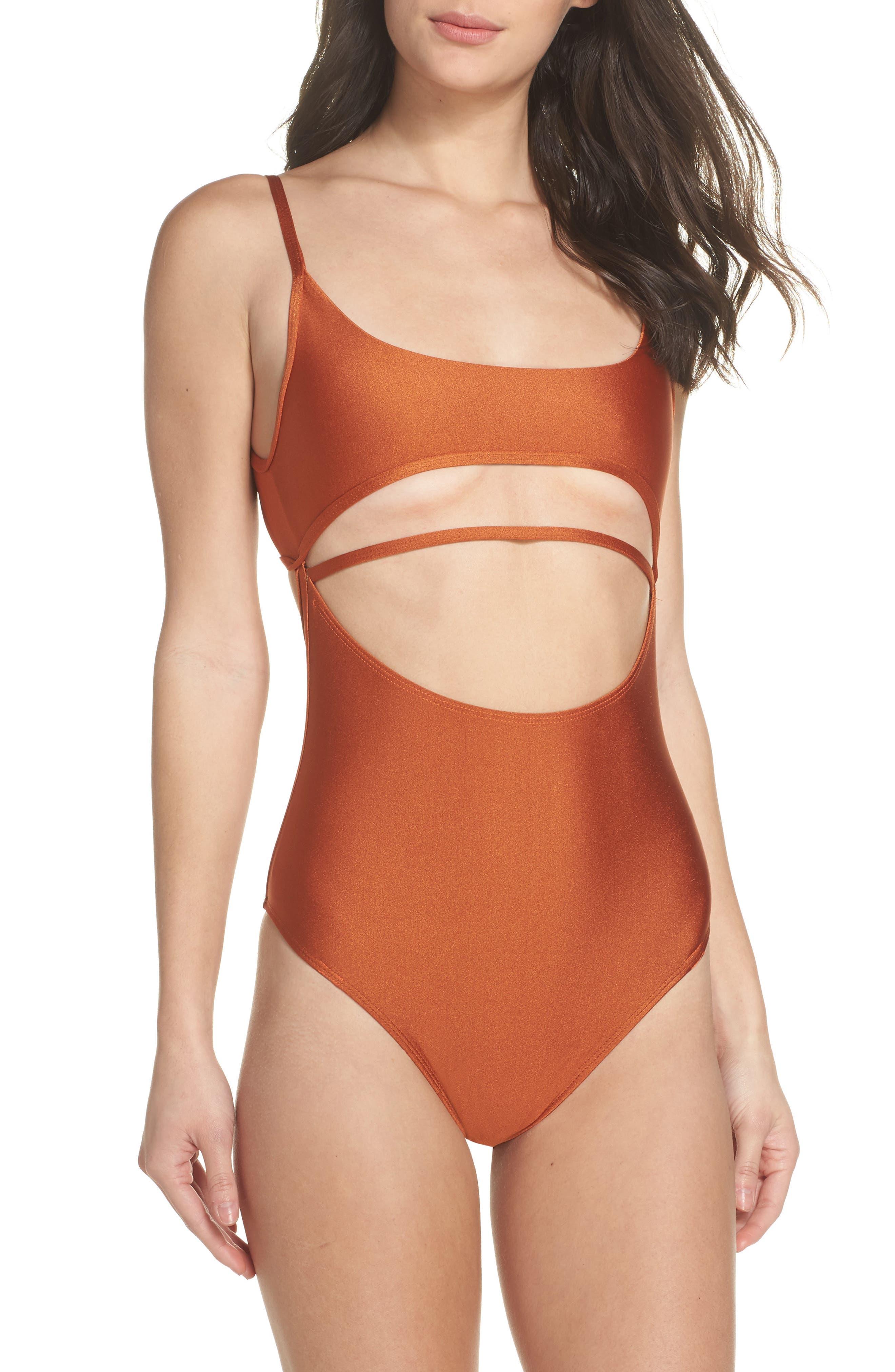 Strata One-Piece Swimsuit,                             Alternate thumbnail 4, color,                             Ginger Orange