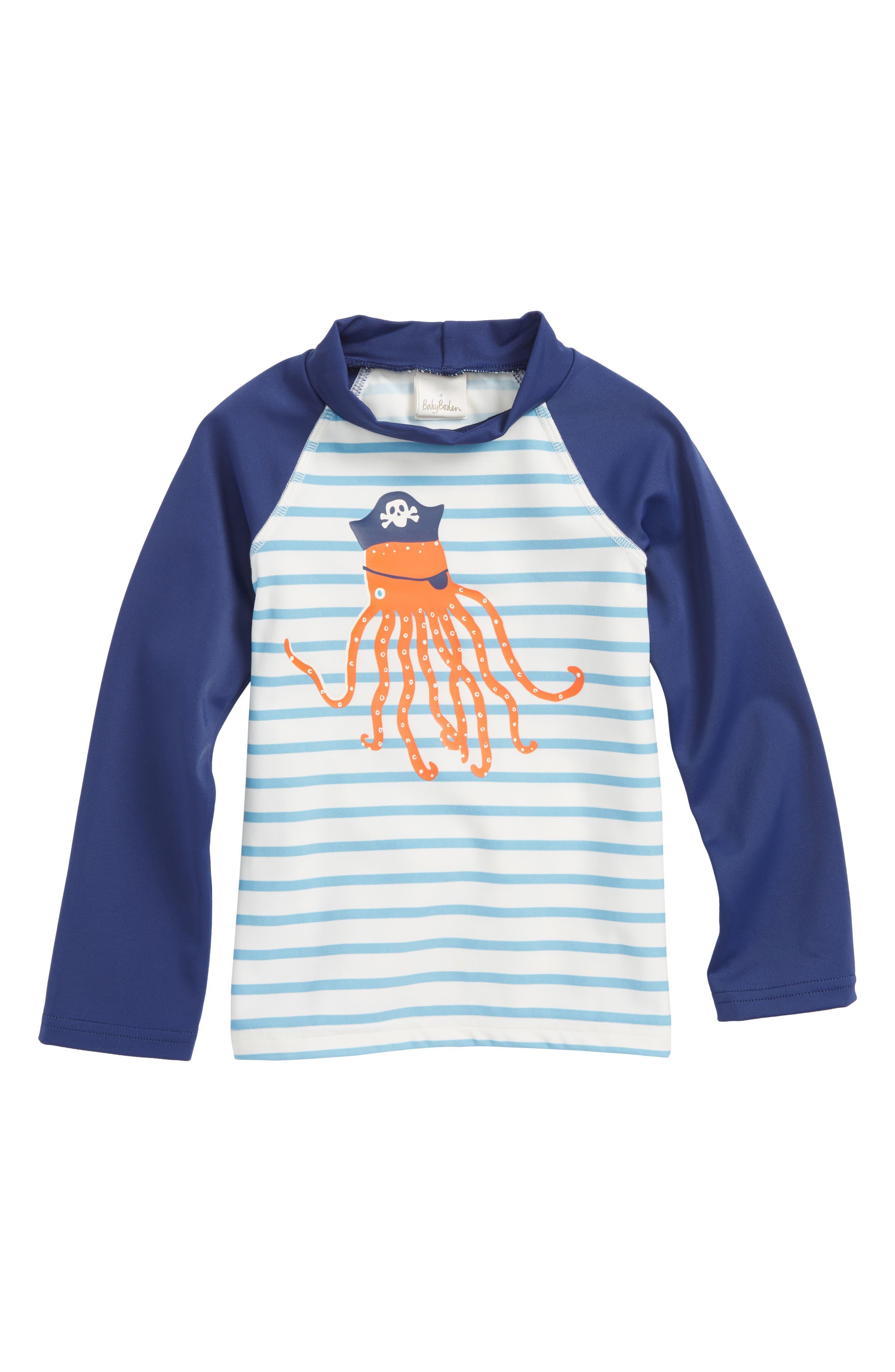 Sea Creature Rashguard,                         Main,                         color, Ivory/ Grotto Blue