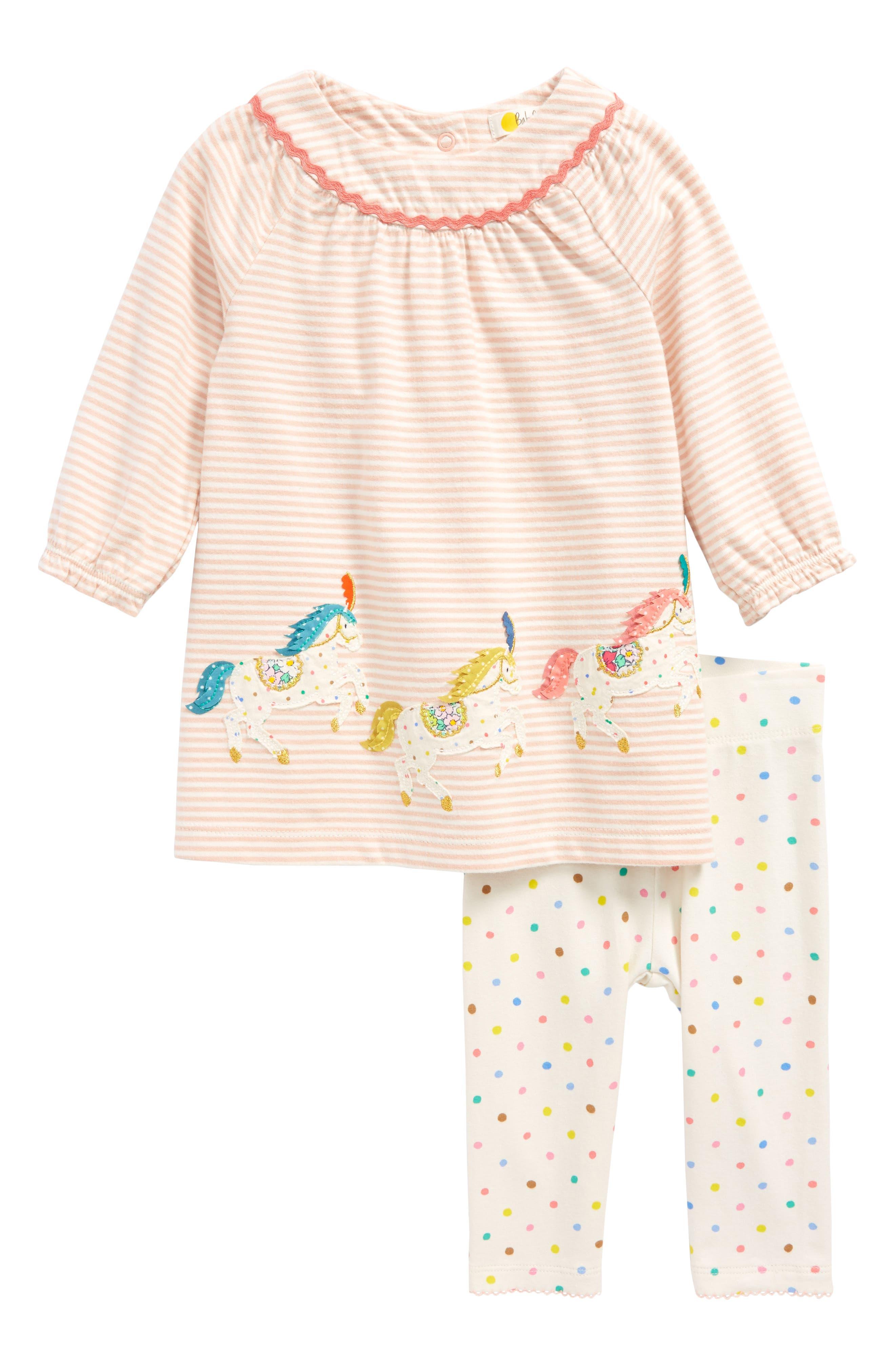 Appliqué Dress & Leggings Set,                             Main thumbnail 1, color,                             Dusty Pink