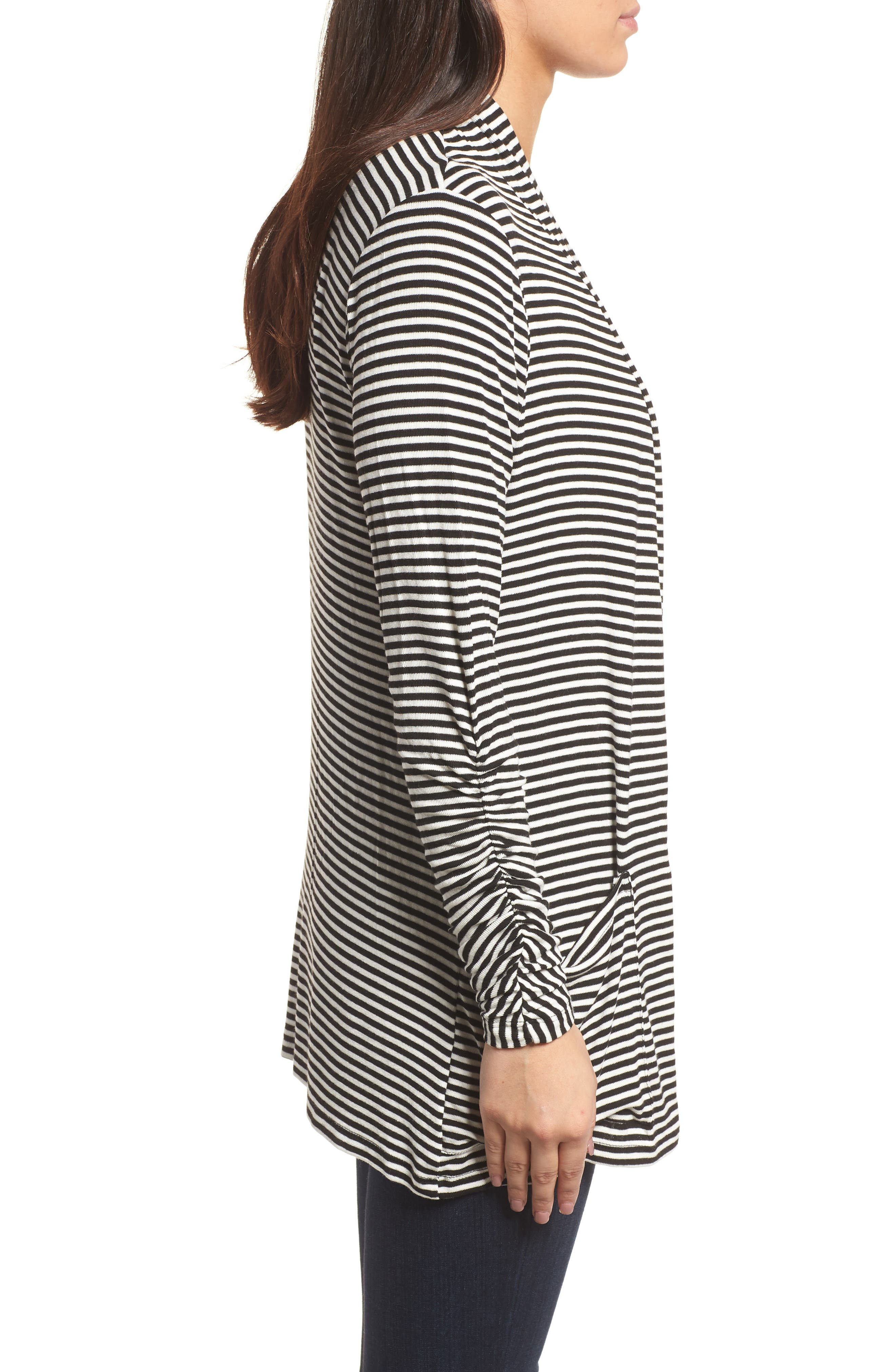 Ruched Sleeve Cardigan,                             Alternate thumbnail 3, color,                             Black/ White Stripe