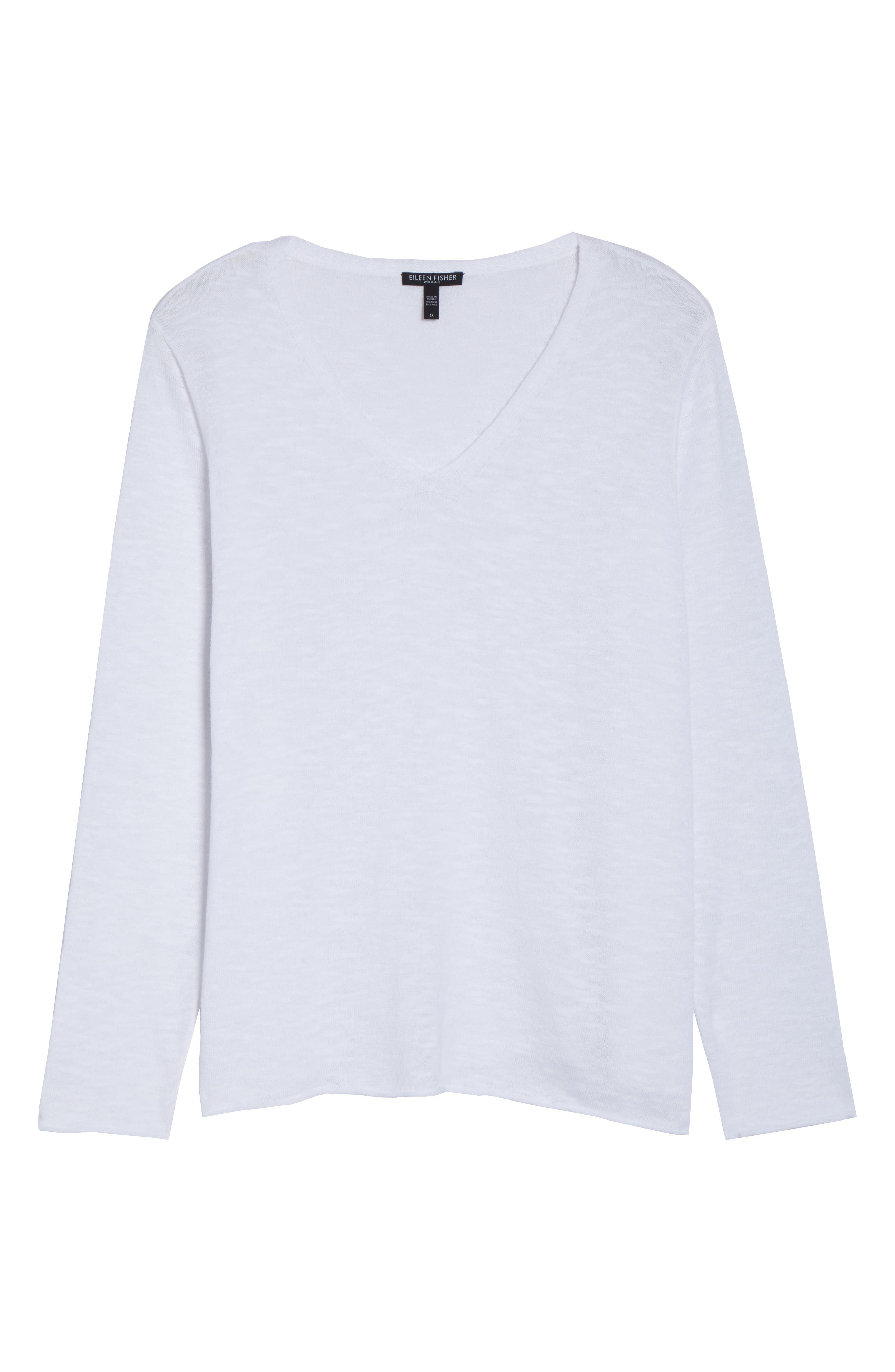 Boxy Organic Linen & Cotton Sweater,                             Alternate thumbnail 7, color,                             White