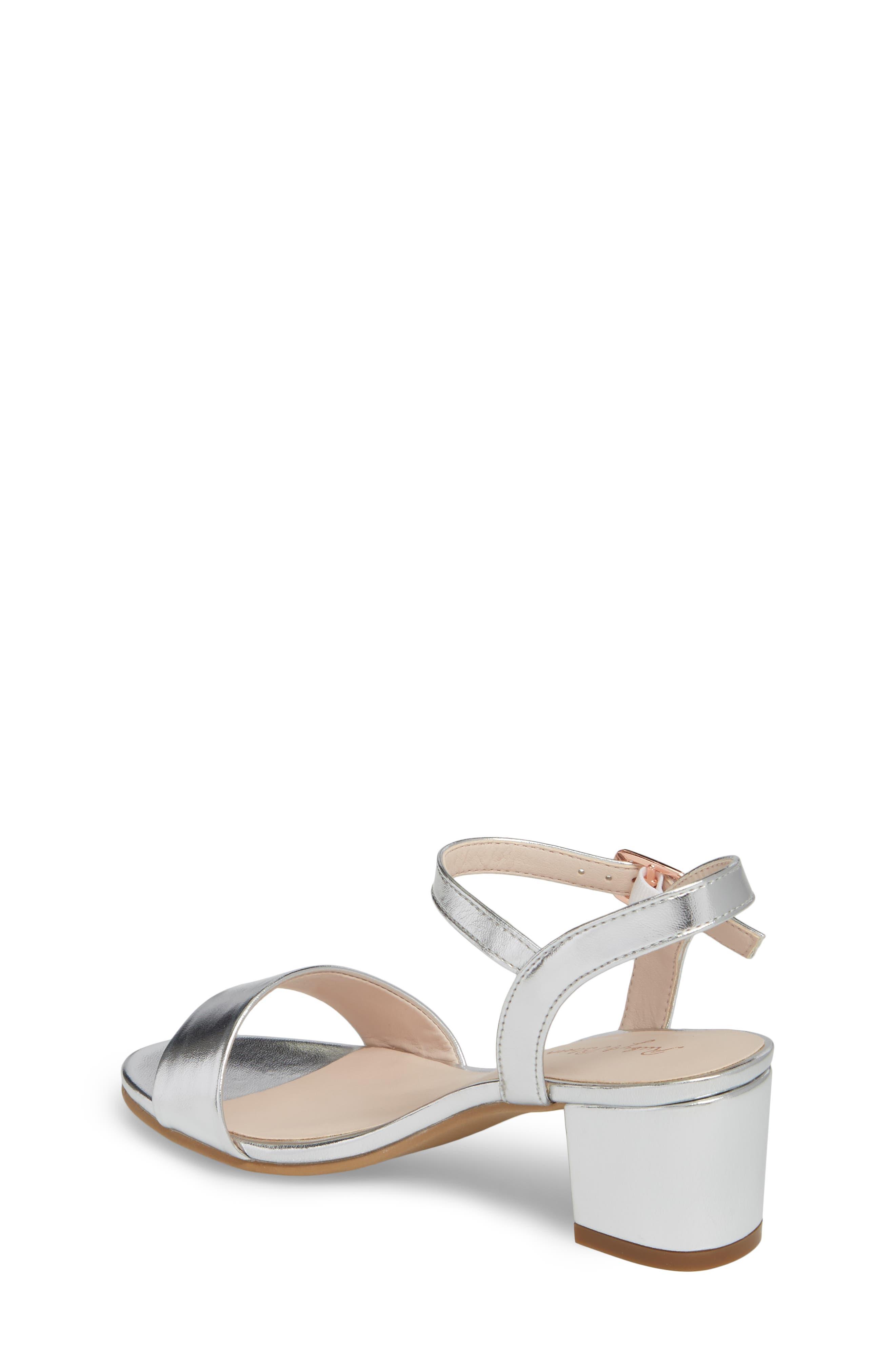 Danni Block Heel Sandal,                             Alternate thumbnail 2, color,                             Silver Faux Leather