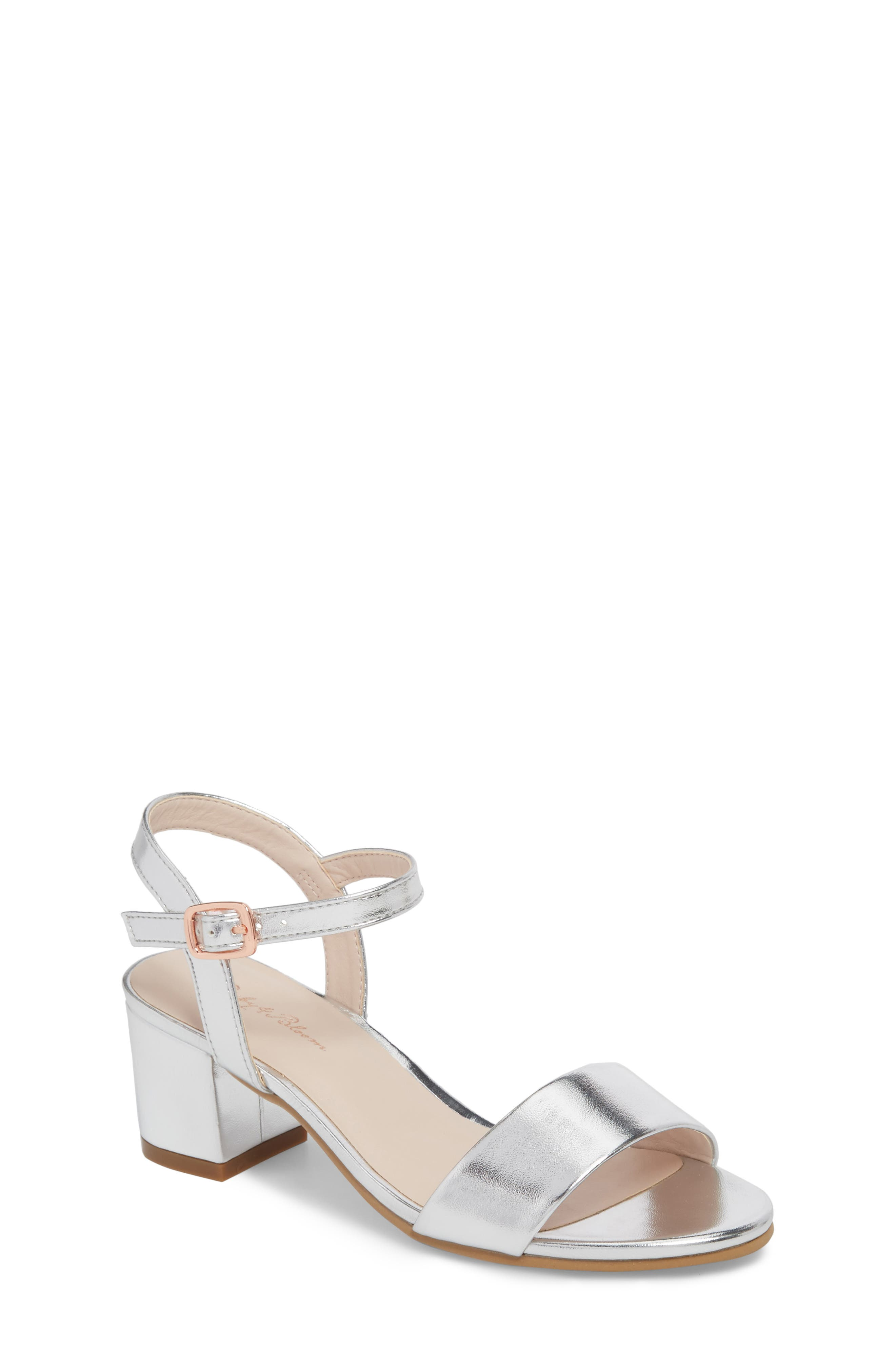 Danni Block Heel Sandal,                         Main,                         color, Silver Faux Leather