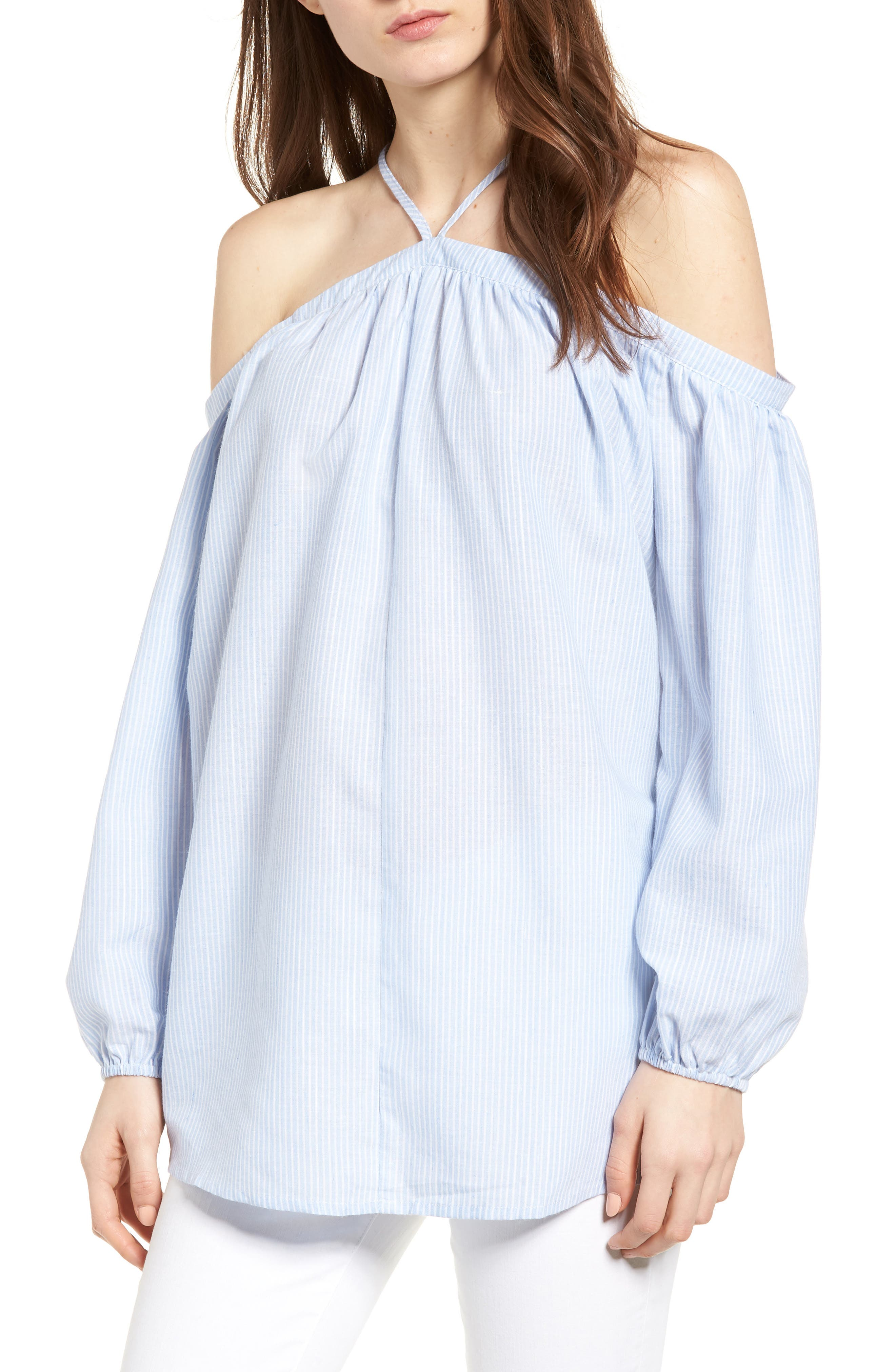 Bishop + Young Ana Stripe Off the Shoulder Top,                             Main thumbnail 1, color,                             Blue White Stripe