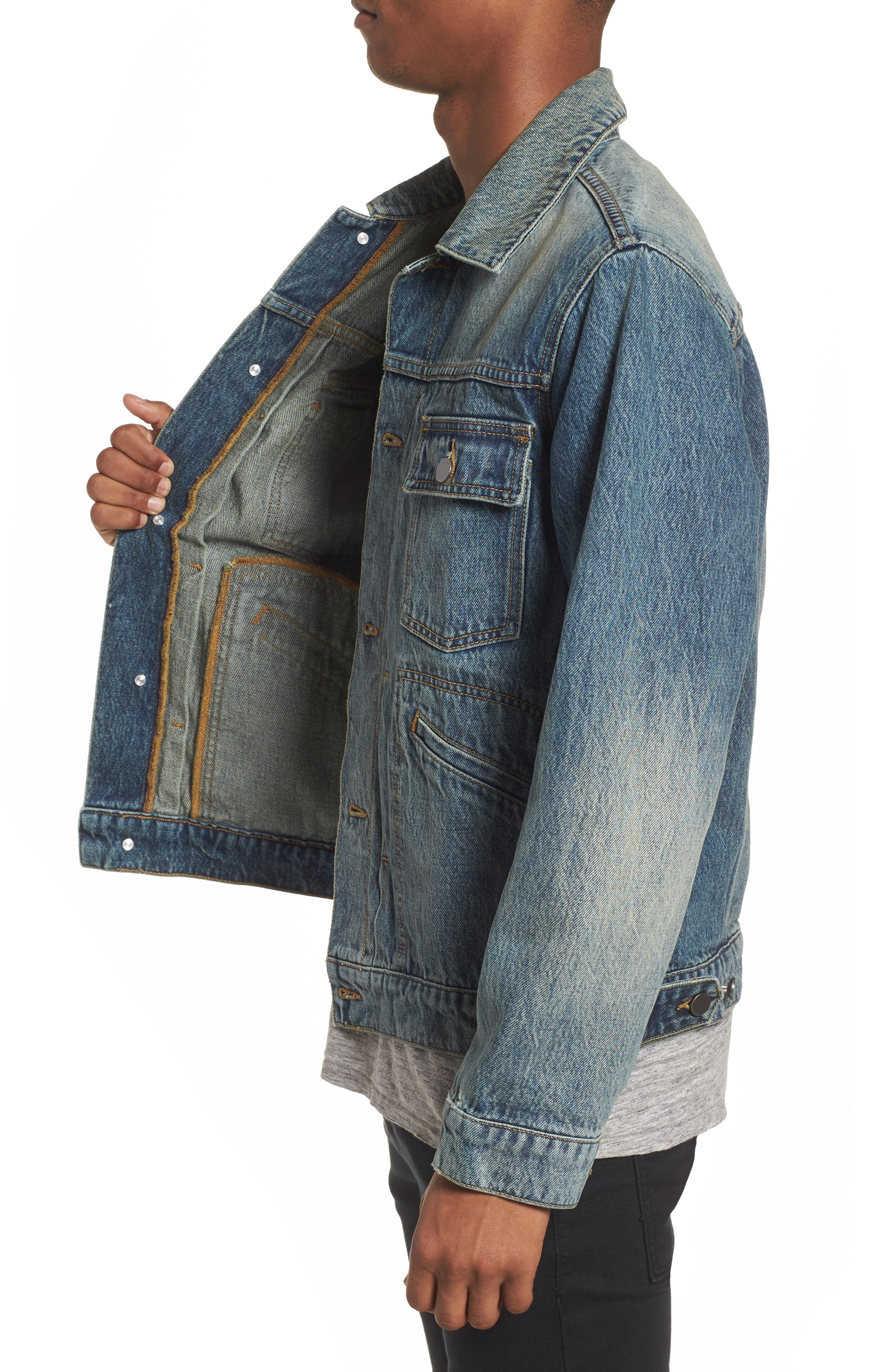Denim Trucker Jacket,                             Alternate thumbnail 3, color,                             Blue Vintage Wash