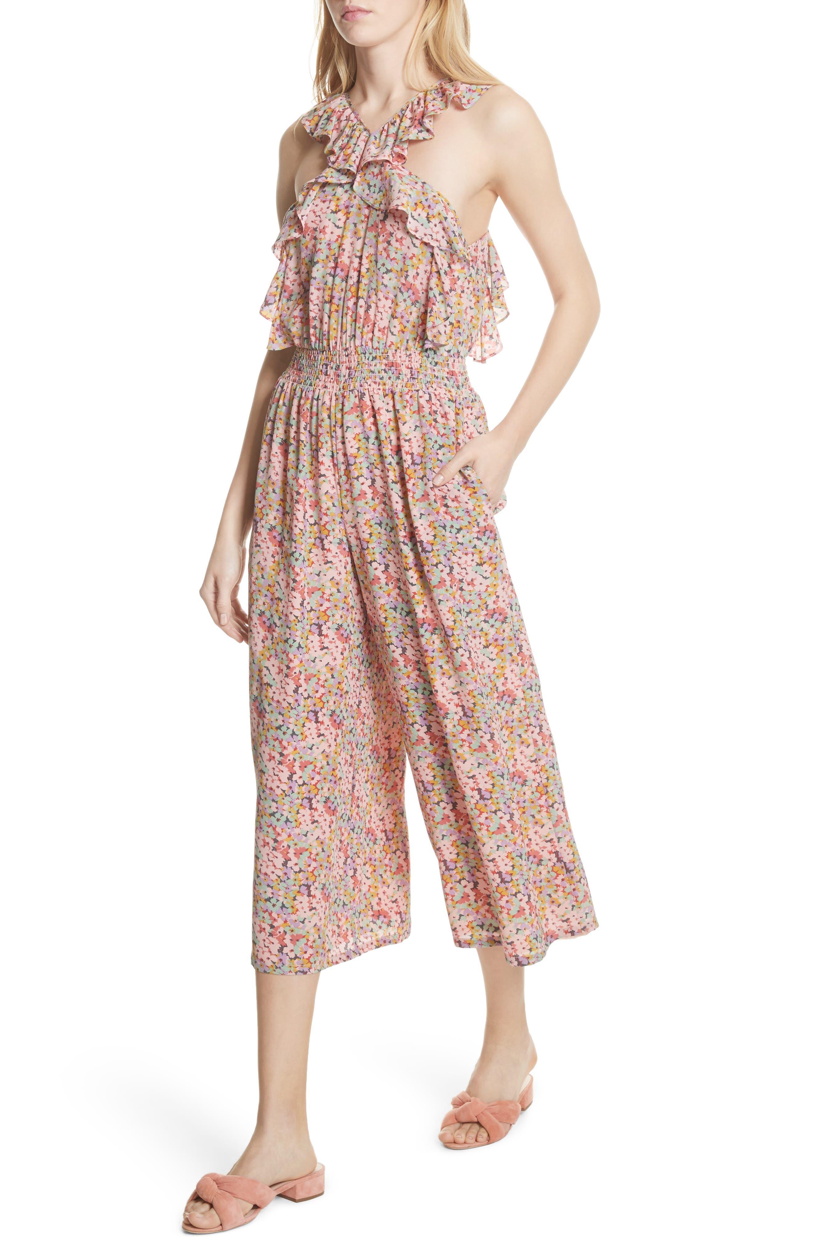 Margo Halter Top Floral Silk Jumpsuit,                             Alternate thumbnail 4, color,                             Multi Combo