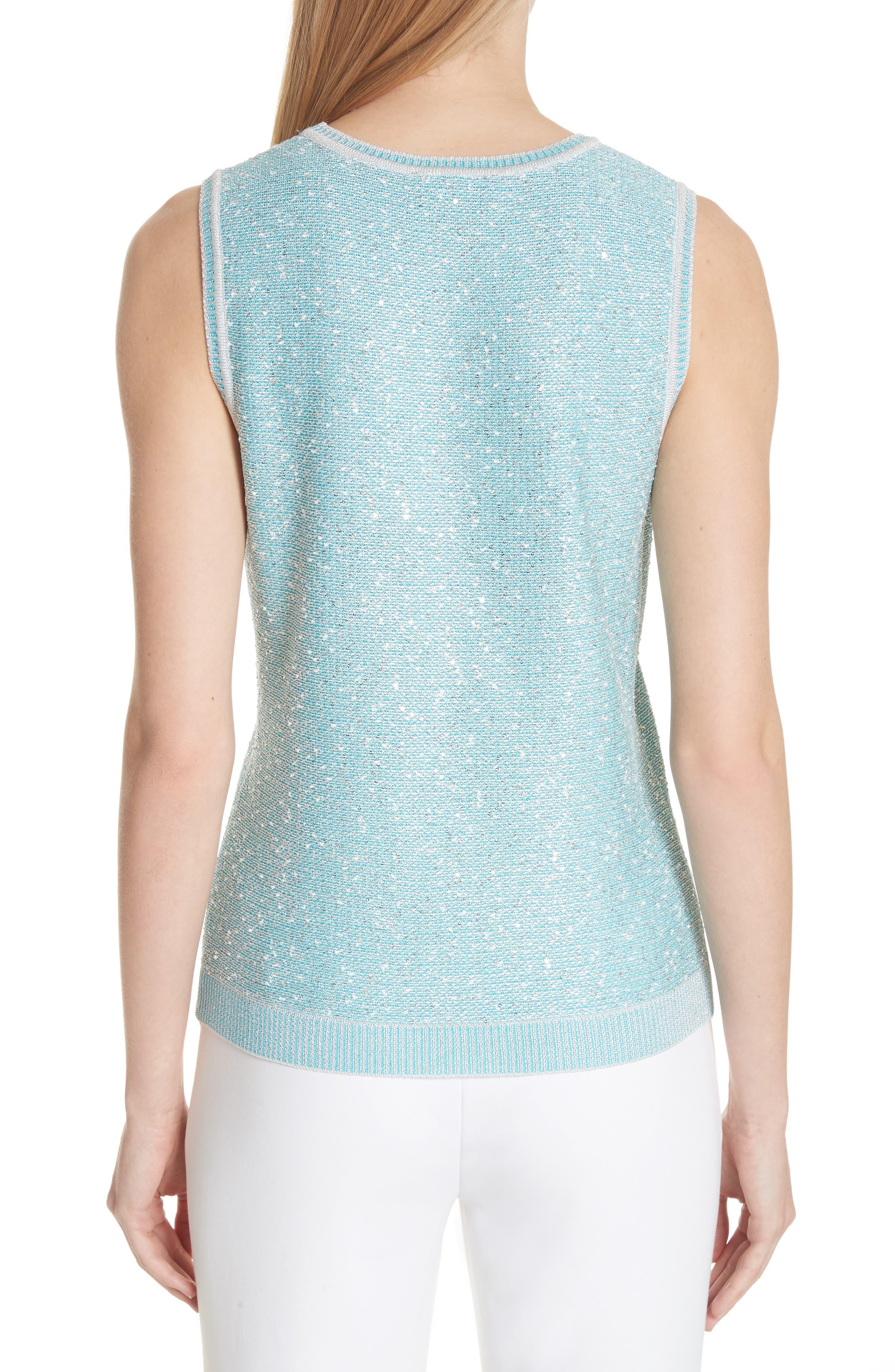 Flecked Sparkle Knit Shell,                             Alternate thumbnail 2, color,                             Aqua Multi