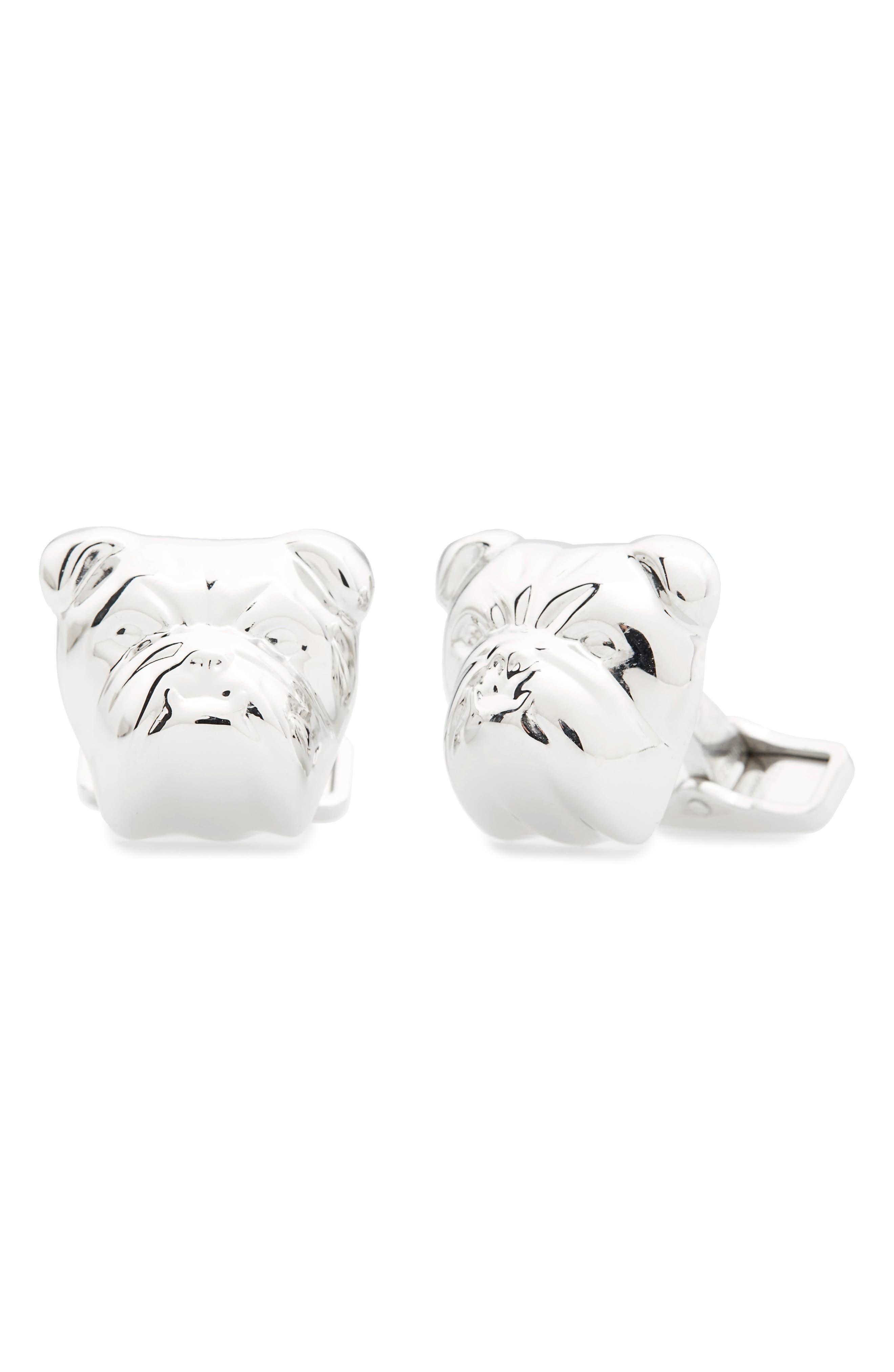 Bulldog Cuff Links,                         Main,                         color, Silver
