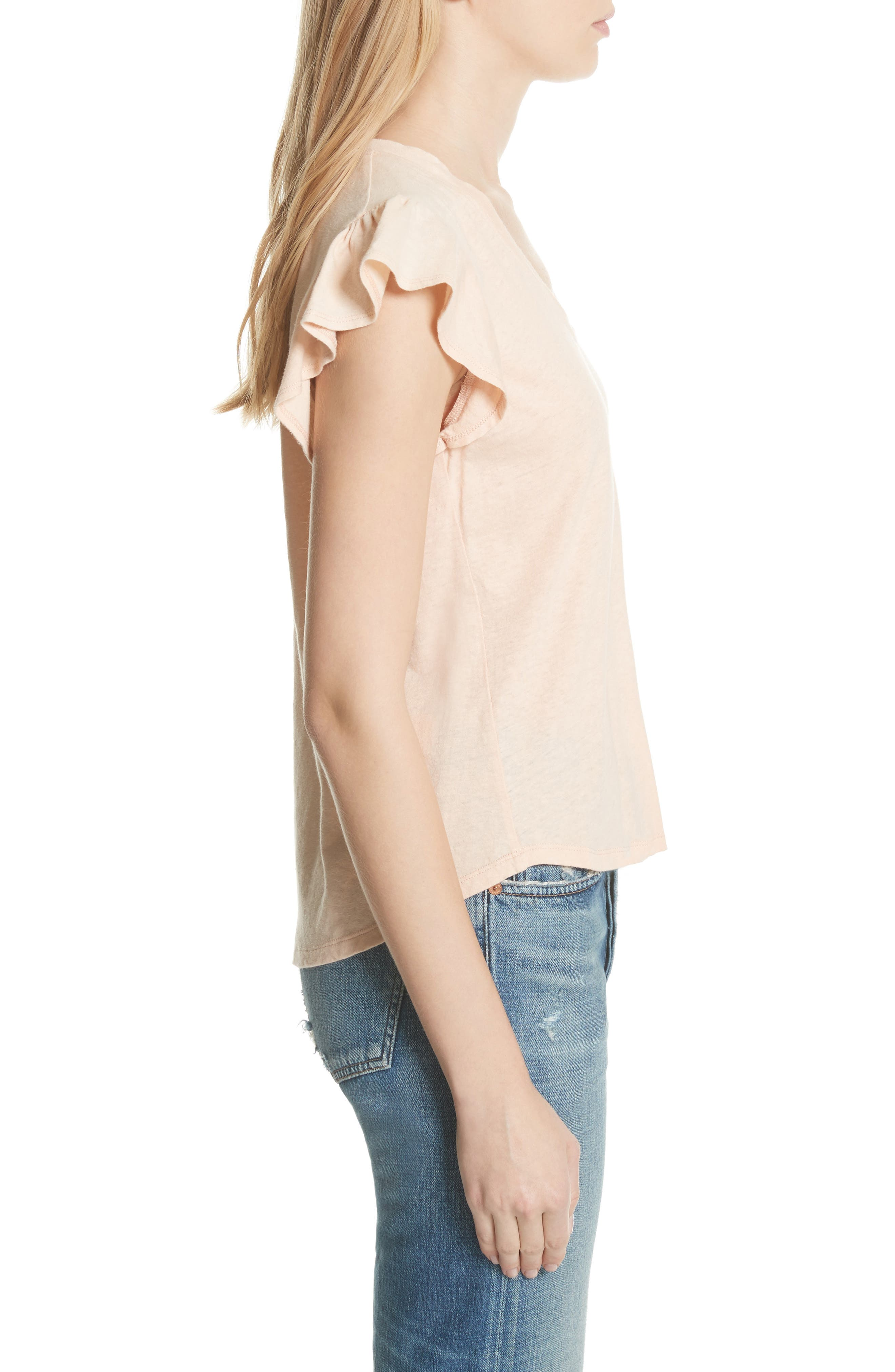 Linen & Cotton Ruffle Sleeve Tee,                             Alternate thumbnail 3, color,                             Rose Cloud
