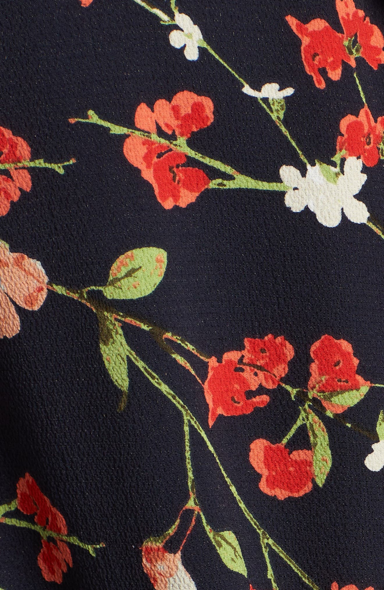 Relaxed Tie Front Top,                             Alternate thumbnail 6, color,                             Black Print With Red Flowers