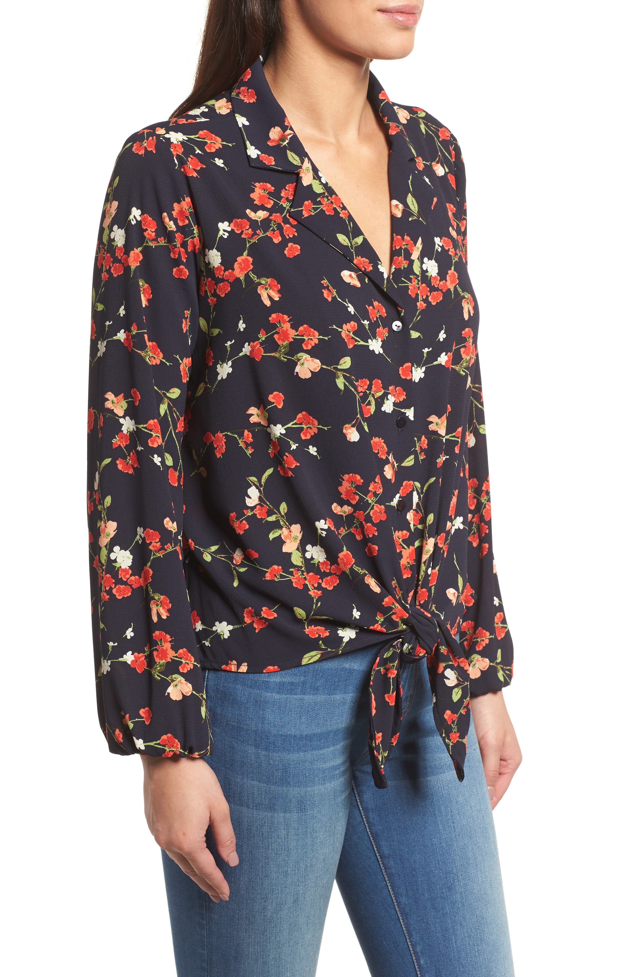 Relaxed Tie Front Top,                             Alternate thumbnail 3, color,                             Black Print With Red Flowers