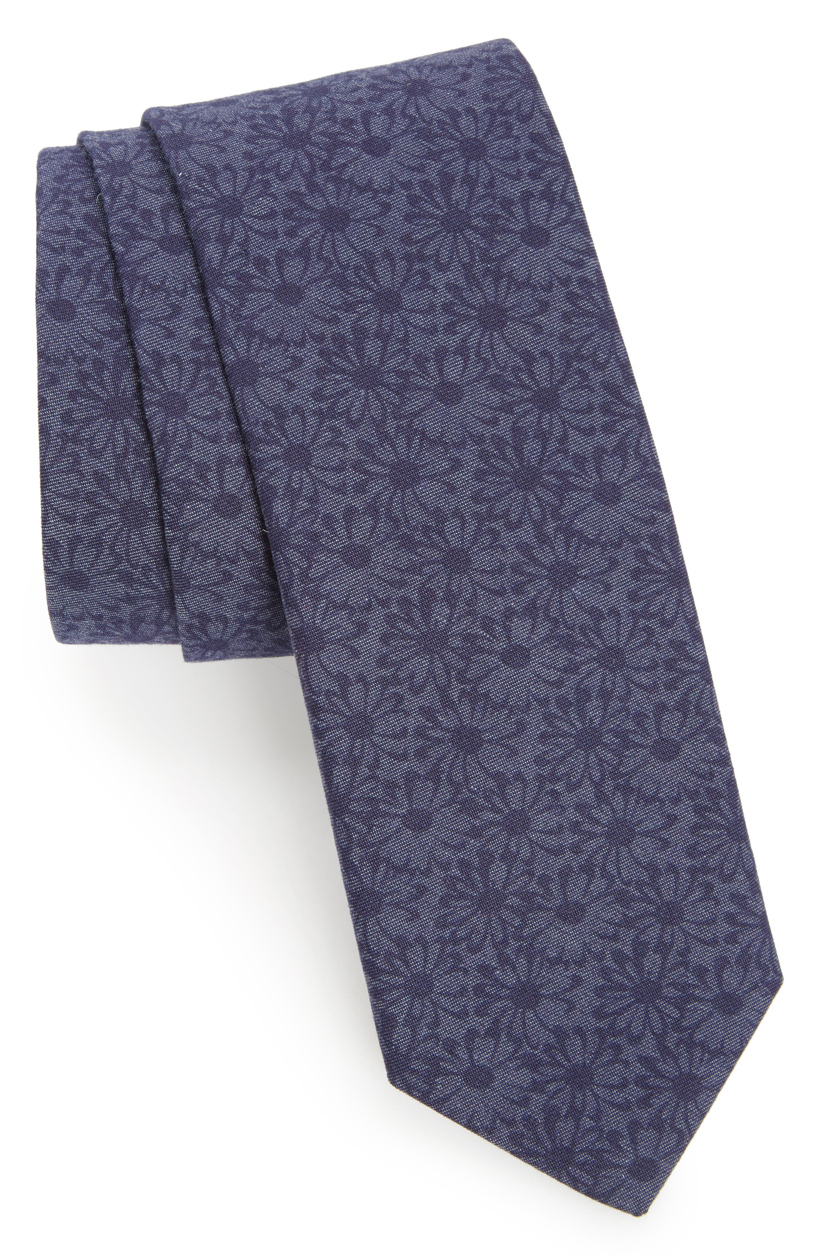 Floral Cotton Tie,                             Main thumbnail 1, color,                             Navy/ Daisy