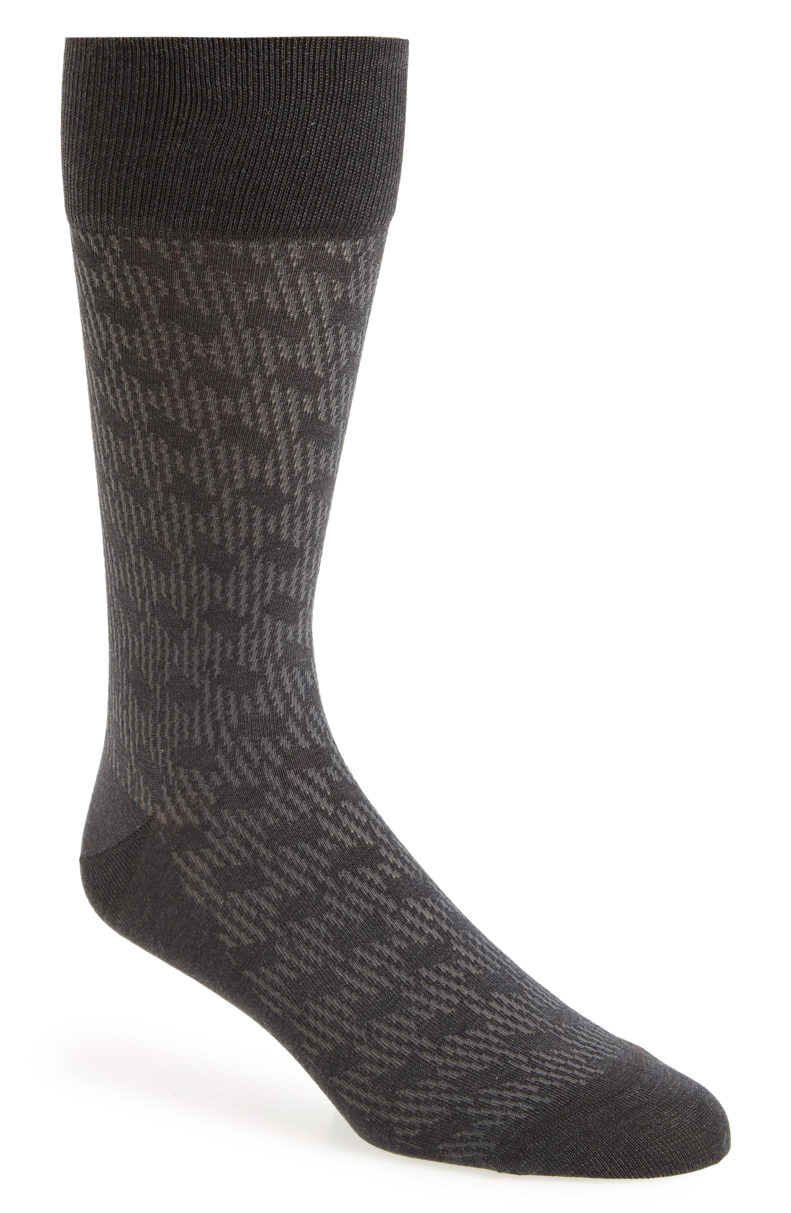 Shadow Rhombus Socks,                         Main,                         color, Charcoal Heather