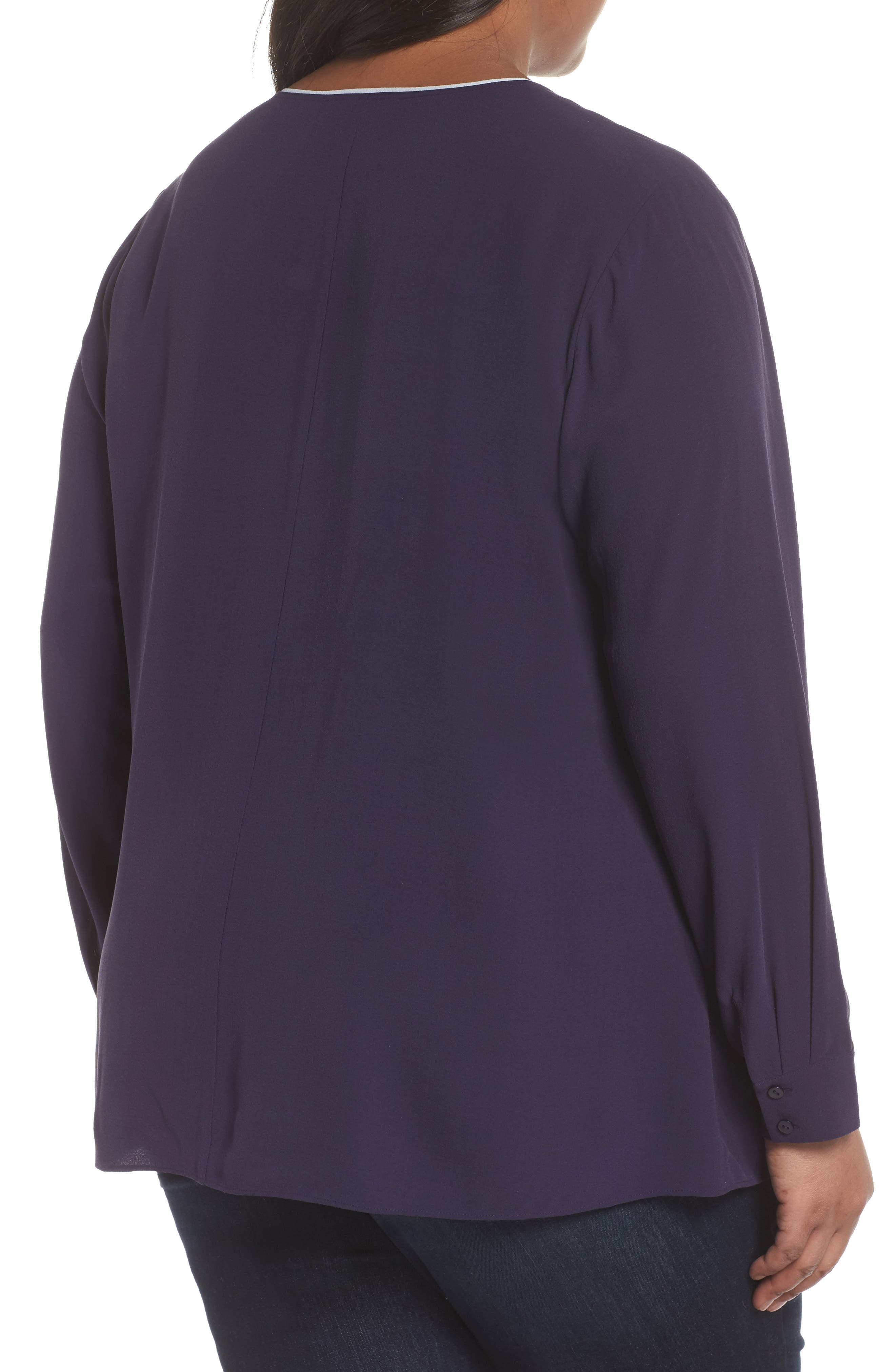 Alternate Image 2  - Eileen Fisher Piping V-Neck Silk Shirt (Plus Size)