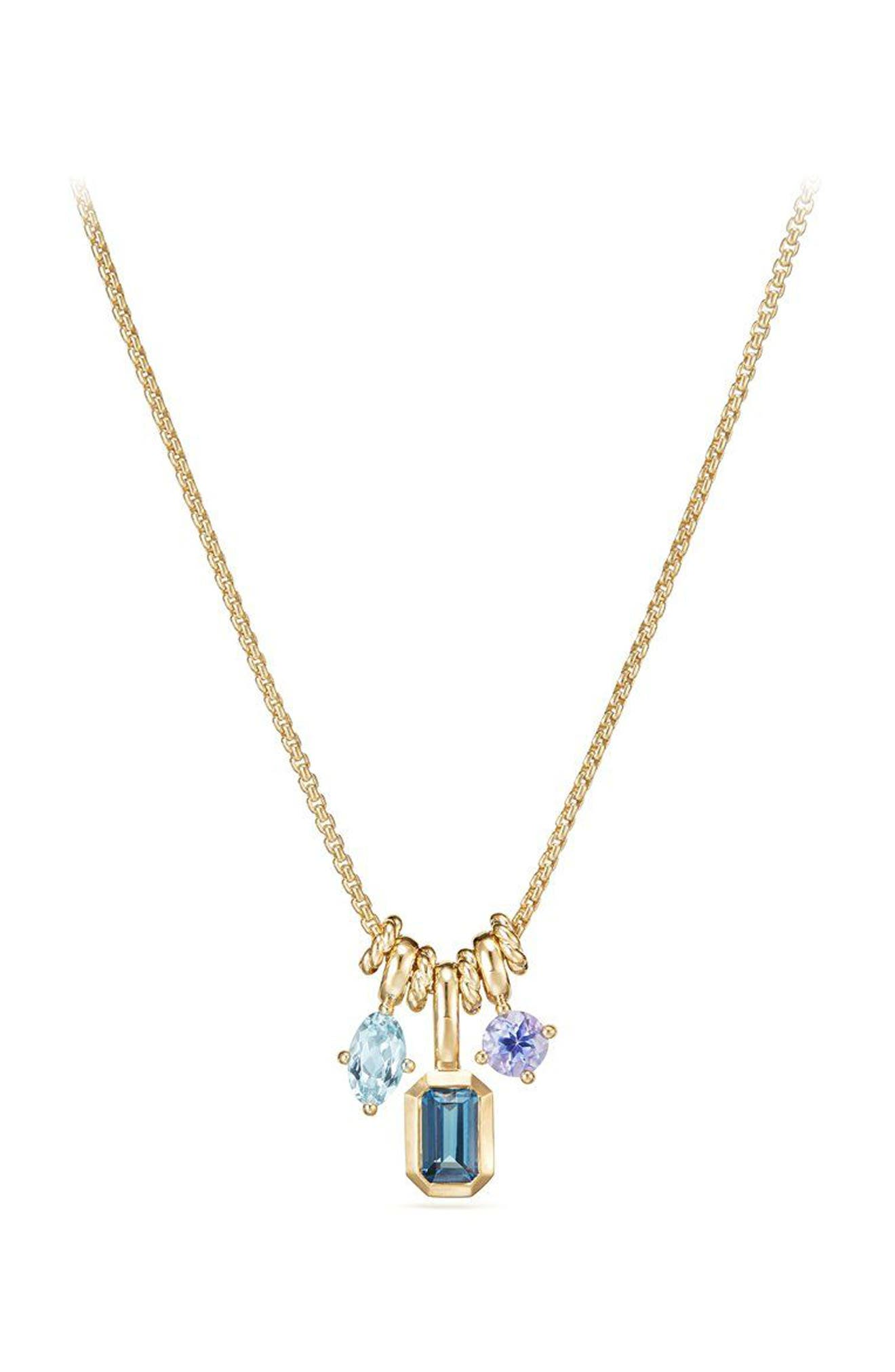 Novella Pendant Necklace in 18K Gold,                             Main thumbnail 1, color,                             Gold/ Blue Topaz/ Aquamarine
