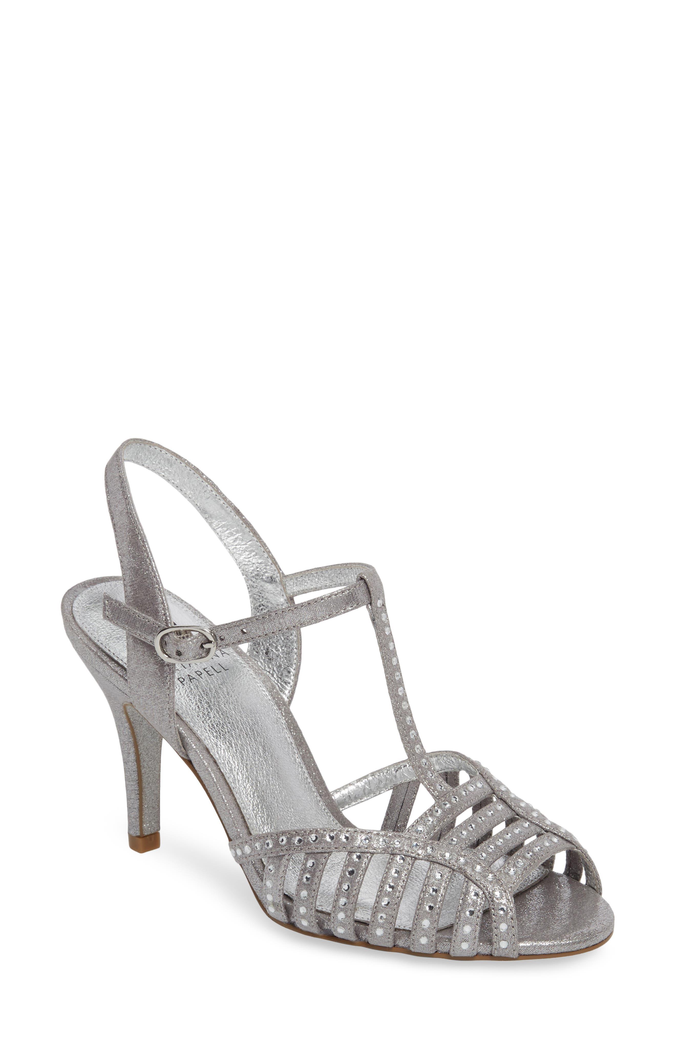Faith T-Strap Sandal,                         Main,                         color, Silver Fabric