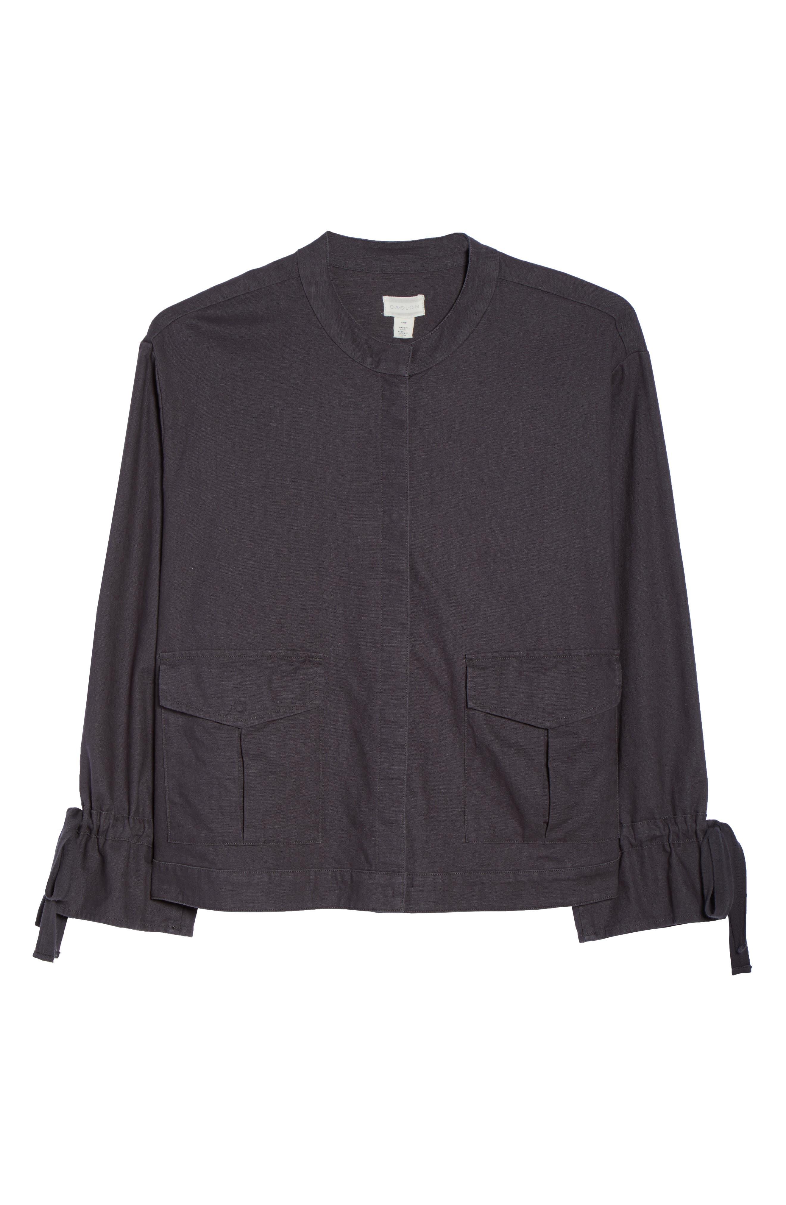 Tie Sleeve Utility Jacket,                             Alternate thumbnail 7, color,                             Grey Ebony