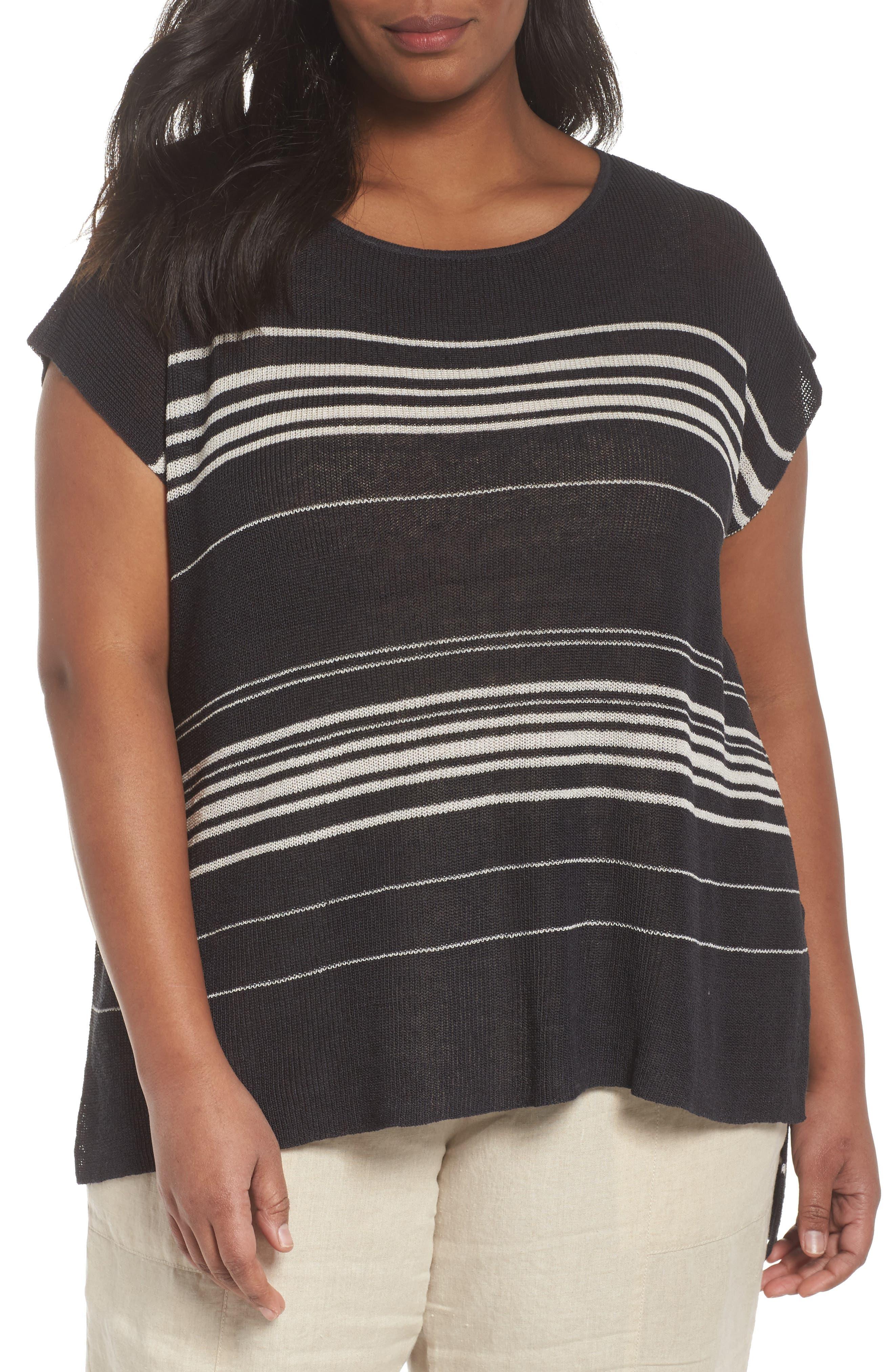 Stripe Organic Linen Blend Poncho,                         Main,                         color, Graphite/ Bone