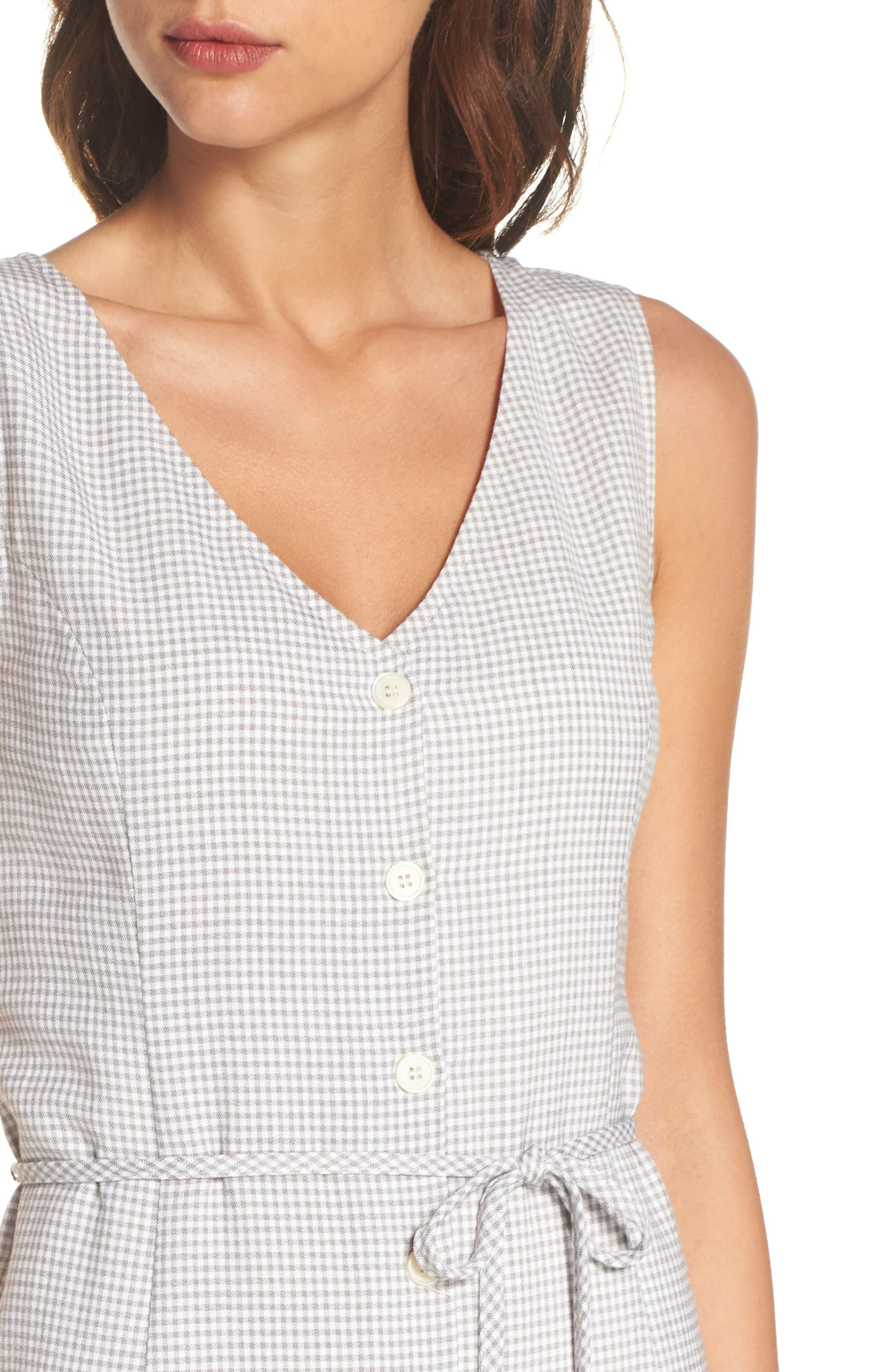 Gingham Midi Dress,                             Alternate thumbnail 4, color,                             Grey/ White