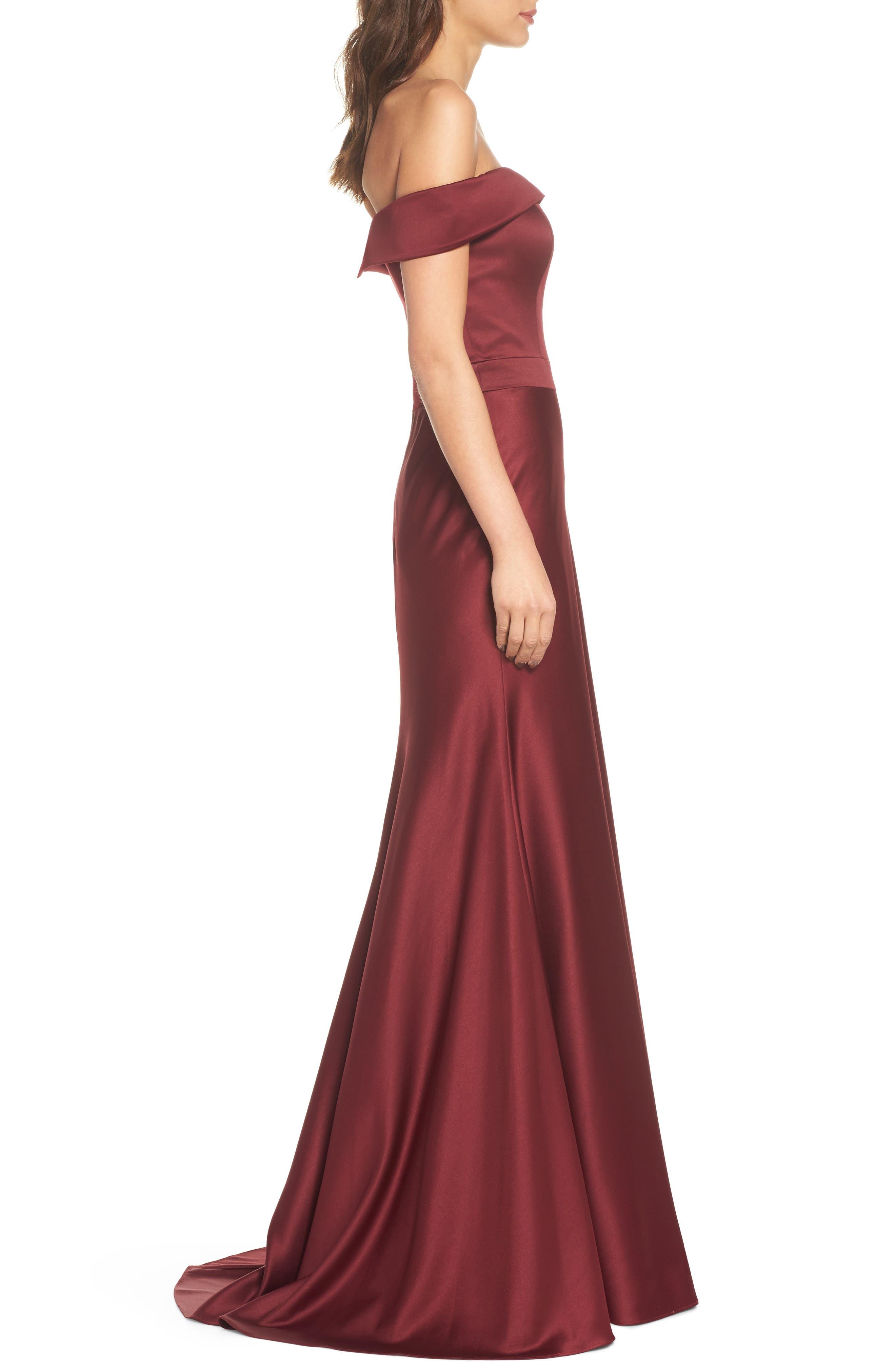 Alternate Image 3  - La Femme Satin Off the Shoulder Gown