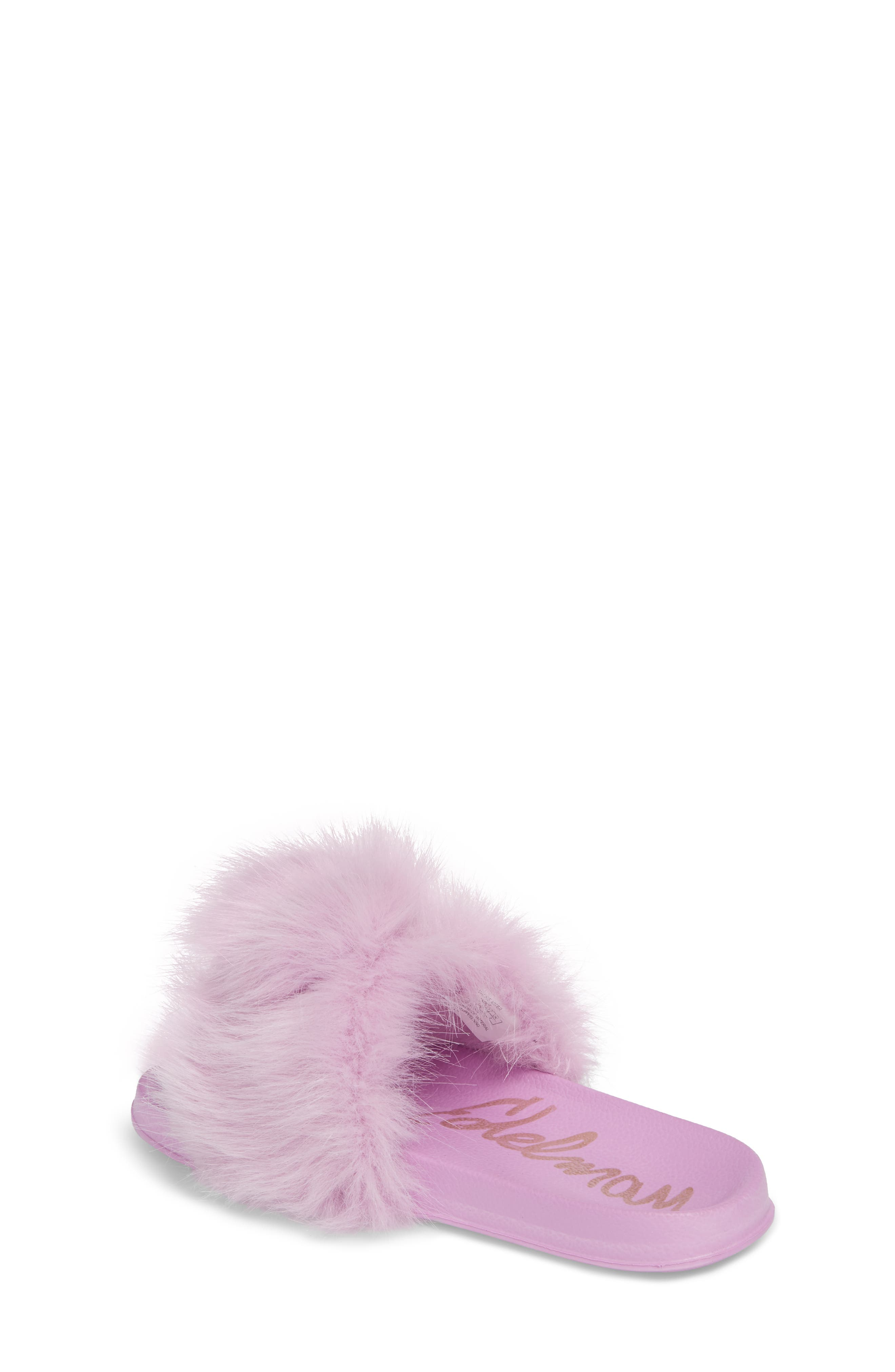 Mackie Aster Faux Fur Slide Sandal,                             Alternate thumbnail 2, color,                             Lavender Faux Fur