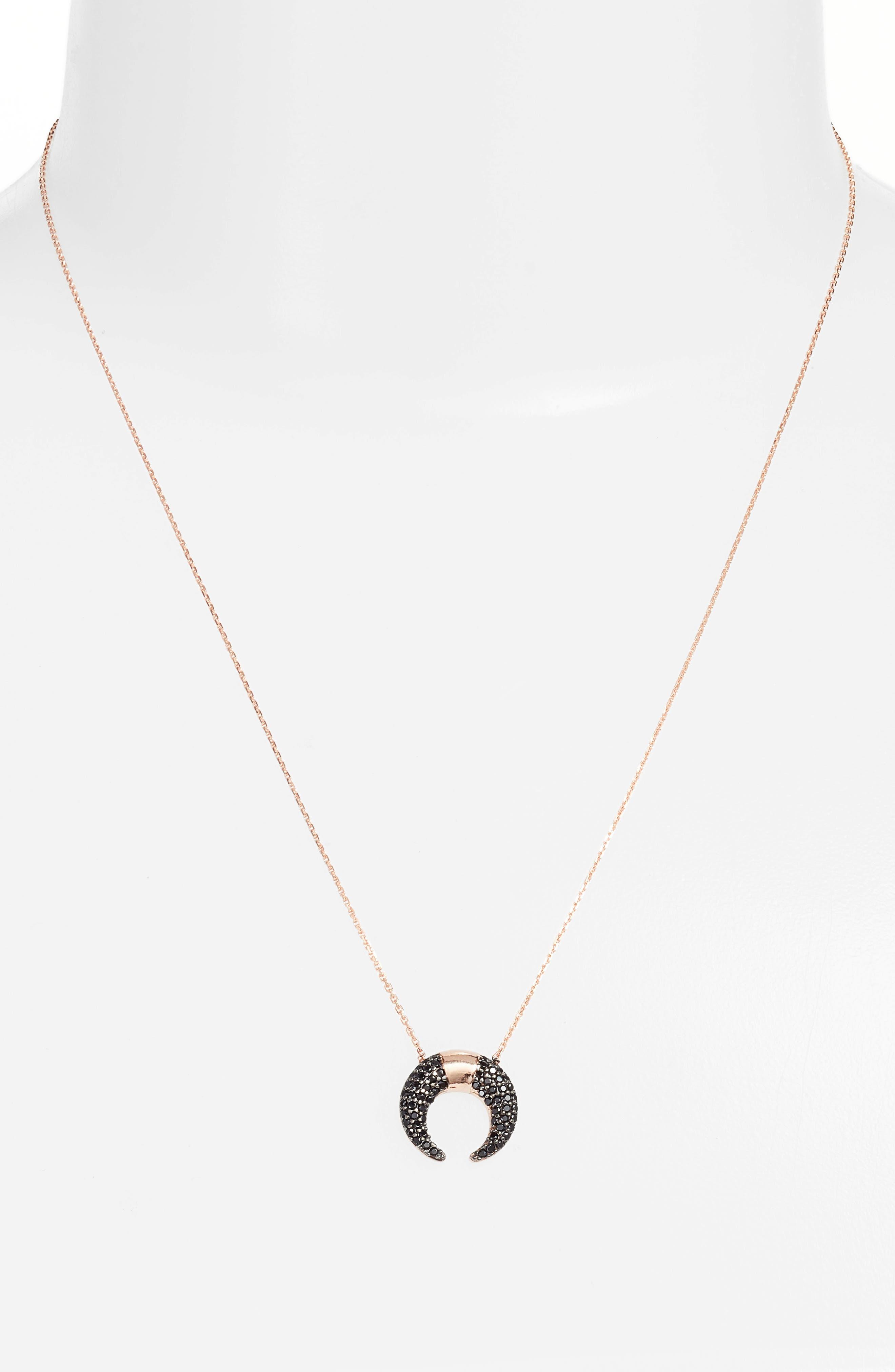 Crystal Crescent Pendant Necklace,                             Alternate thumbnail 2, color,                             Gunmetal