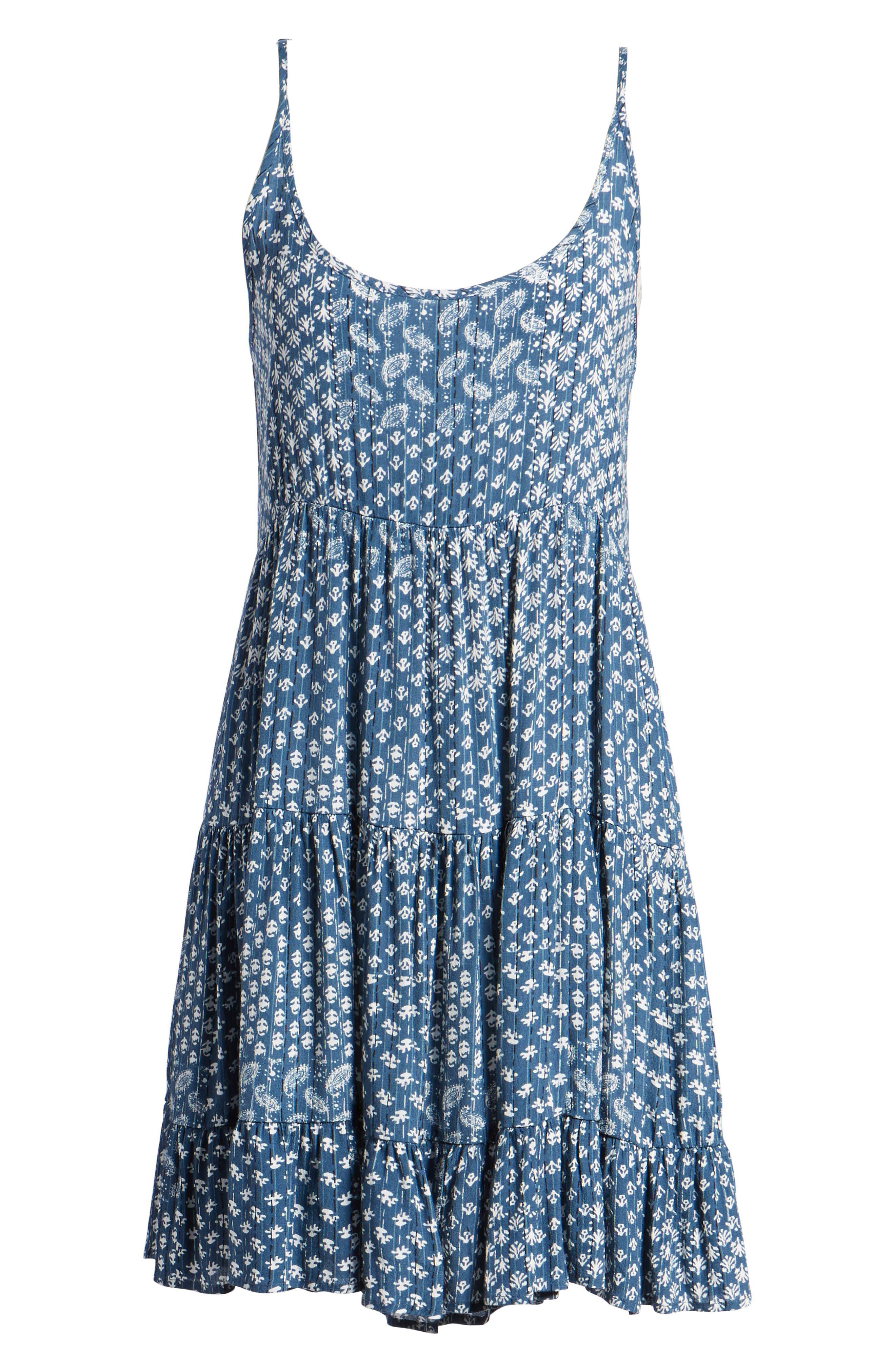 Amber Swing Dress,                             Alternate thumbnail 6, color,                             Indigo Patchwork