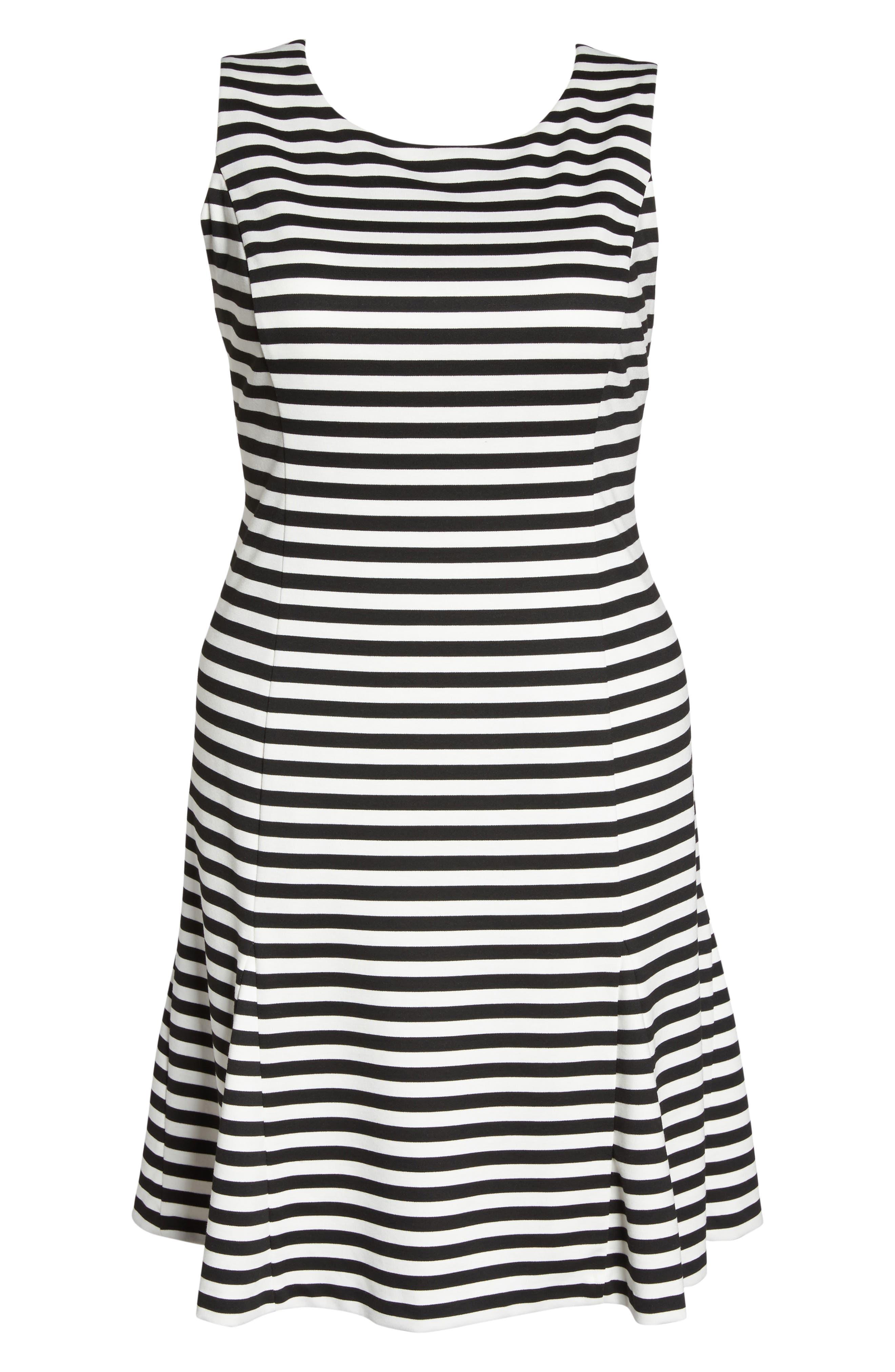 Godet Body-Con Dress,                             Alternate thumbnail 6, color,                             Black/ Ivory