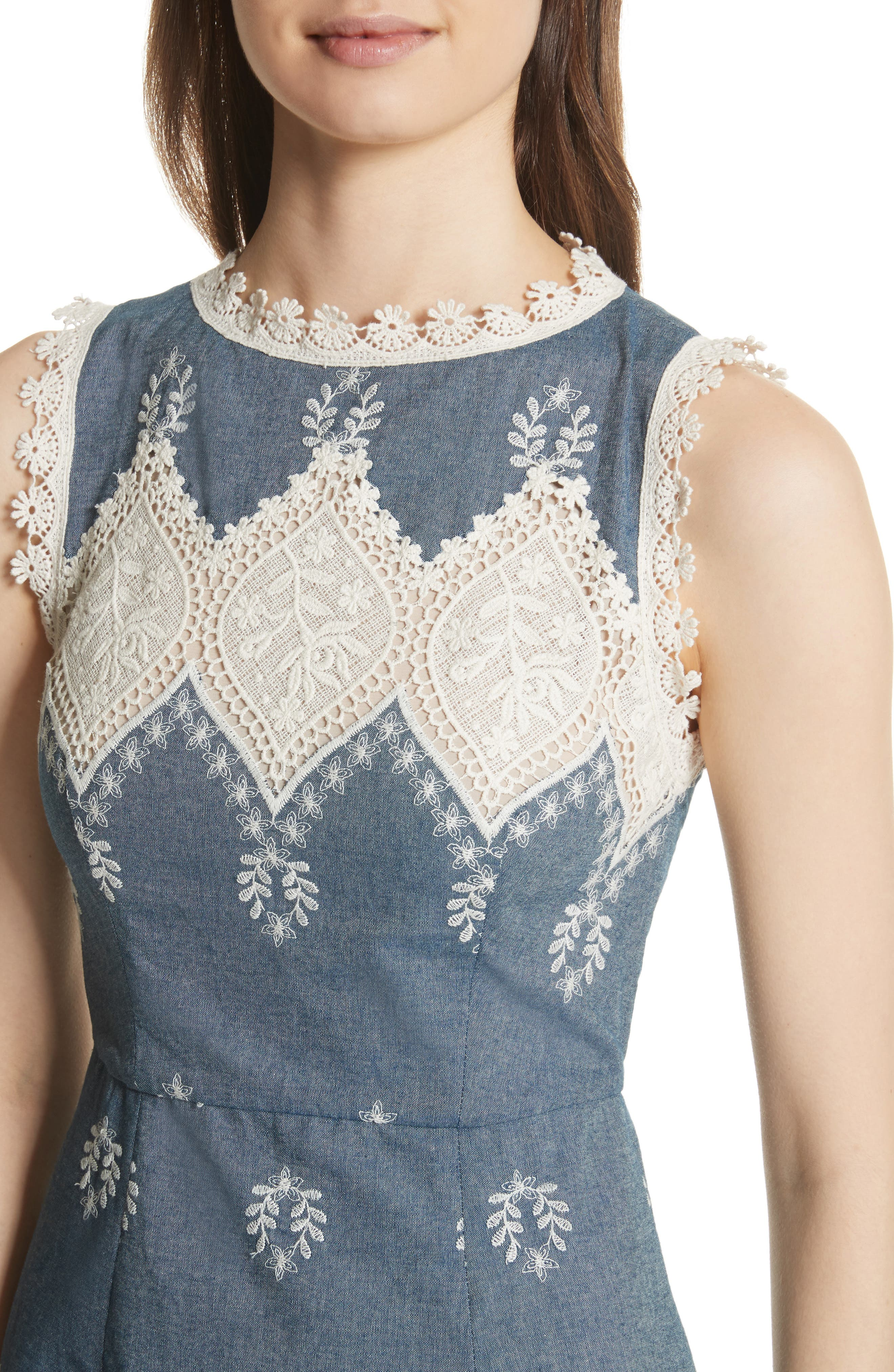 Embroidered Minidress,                             Alternate thumbnail 4, color,                             Chambray/ Cream
