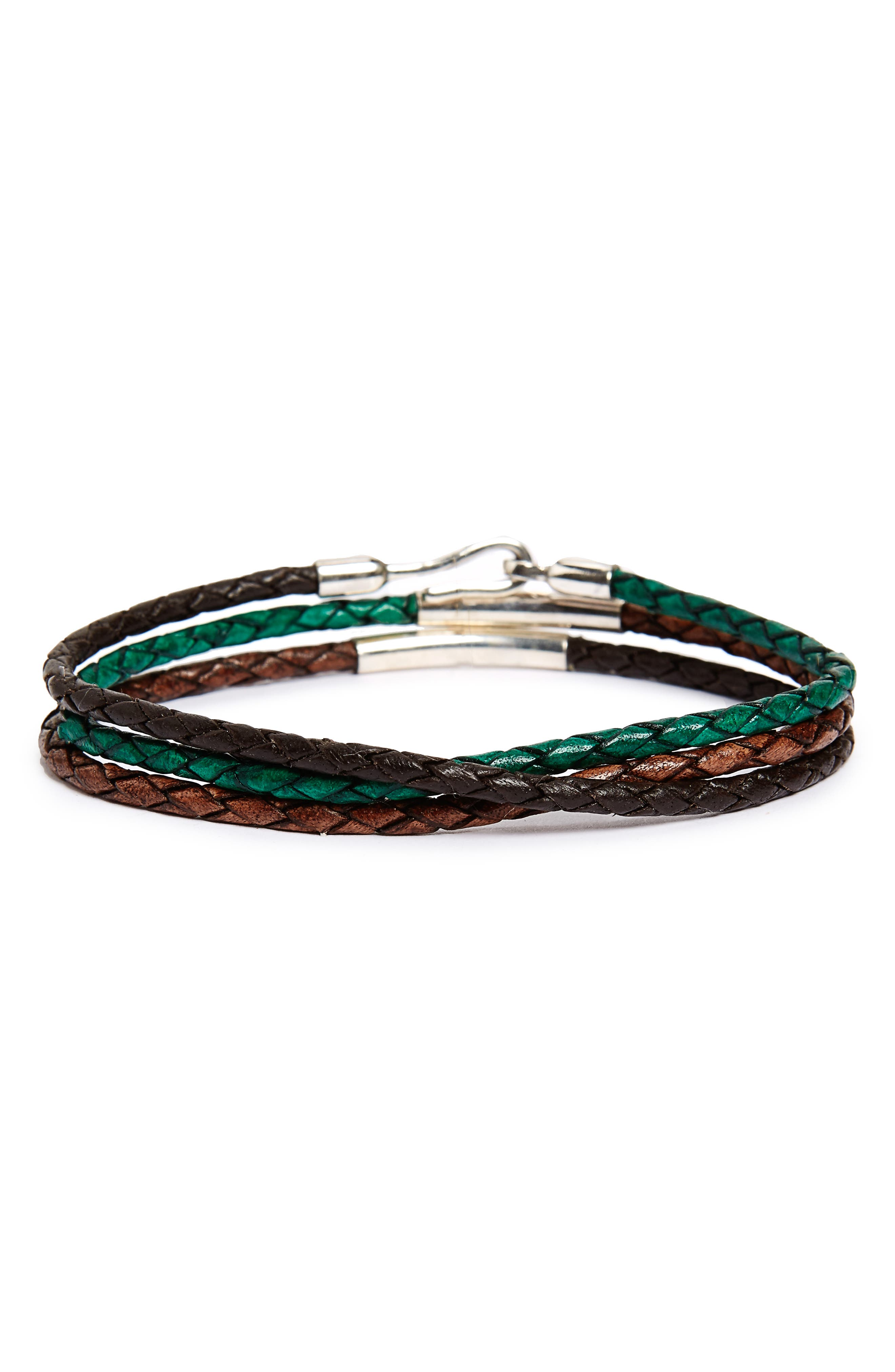 Braided Leather Wrap Bracelet,                             Main thumbnail 1, color,                             Brown Combo