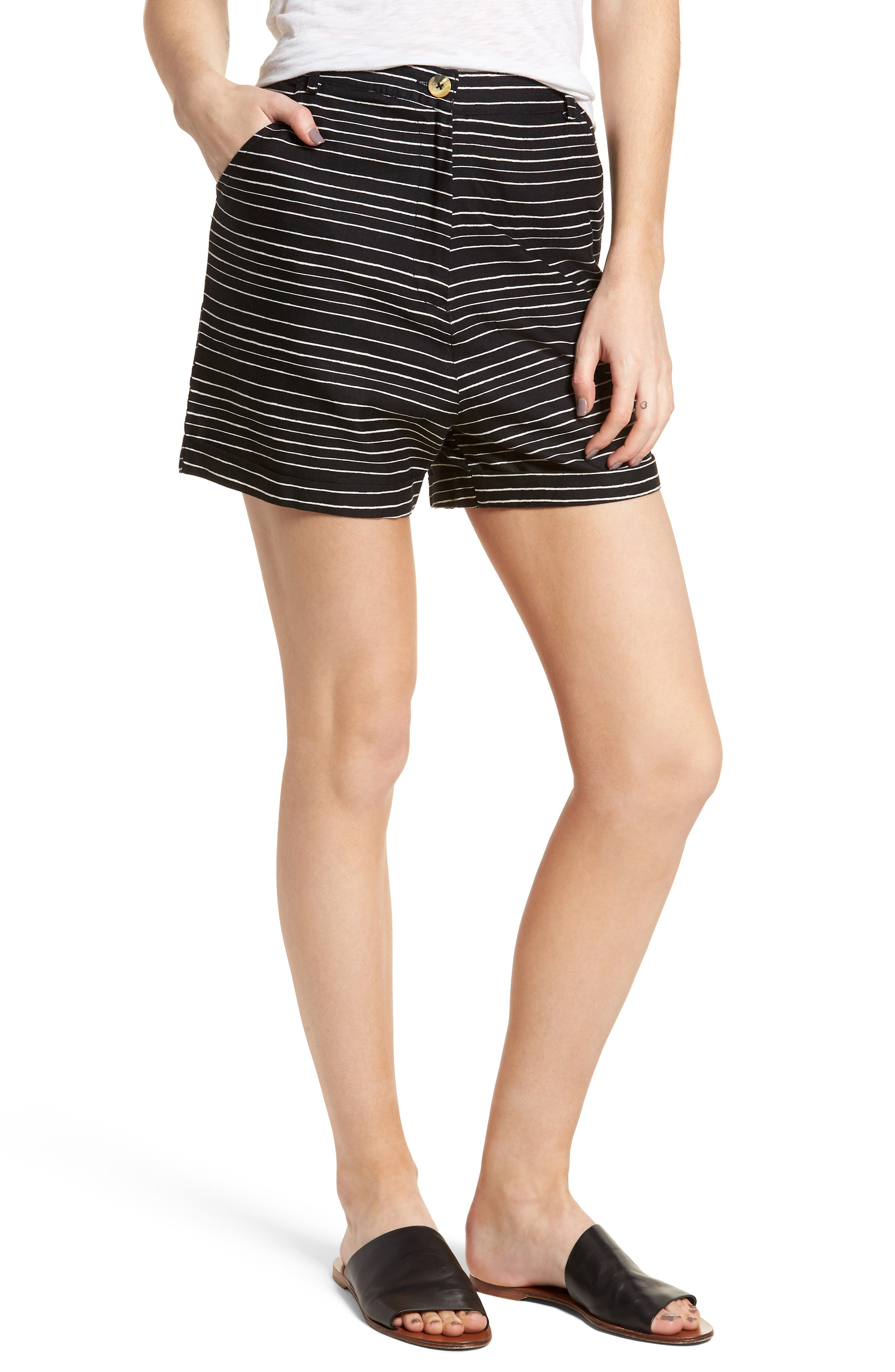 Pin-Up Linen Blend Shorts,                             Main thumbnail 1, color,                             Black