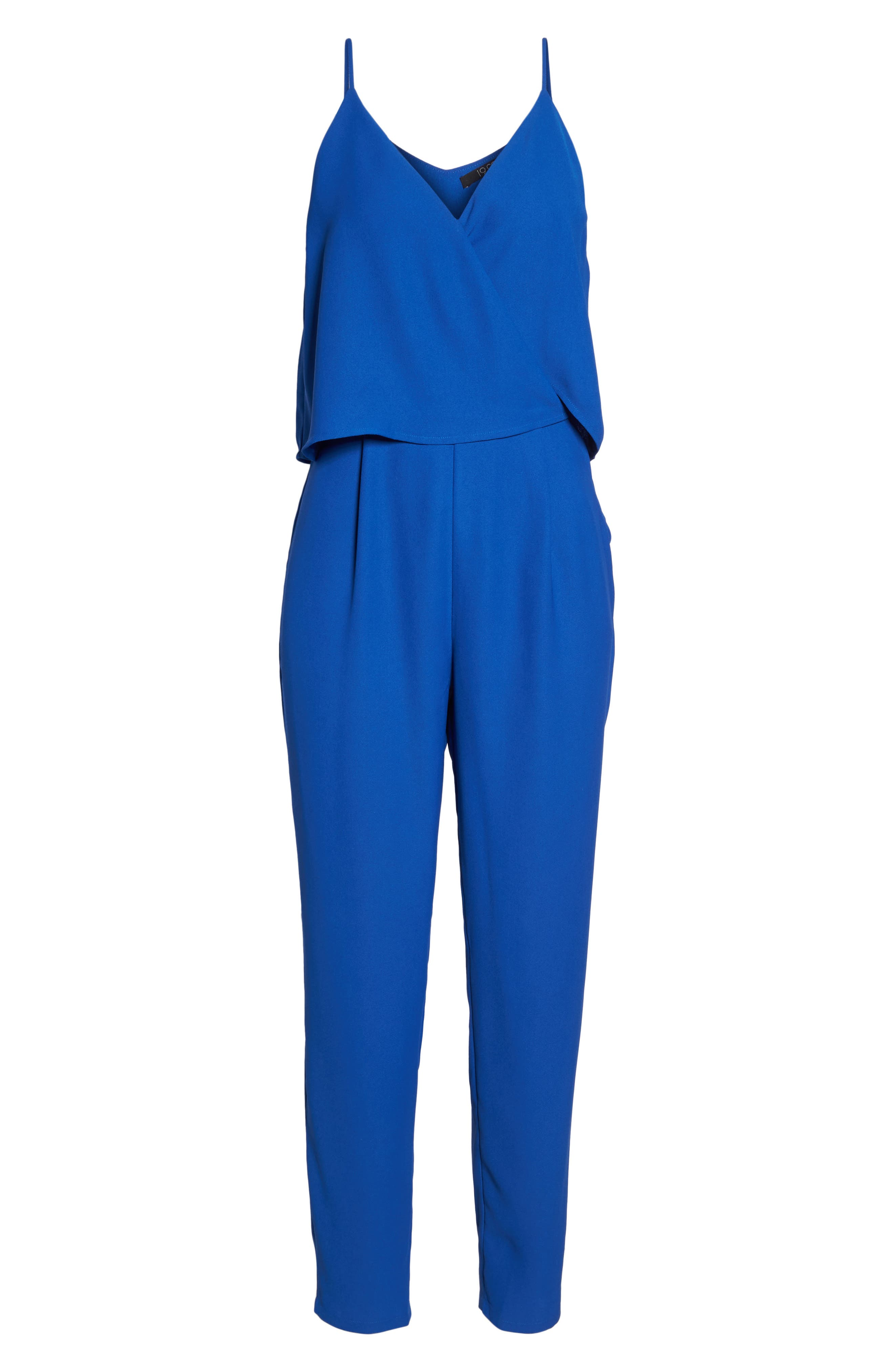 Deep V-Neck Sleeveless Jumpsuit,                             Alternate thumbnail 6, color,                             Cobalt