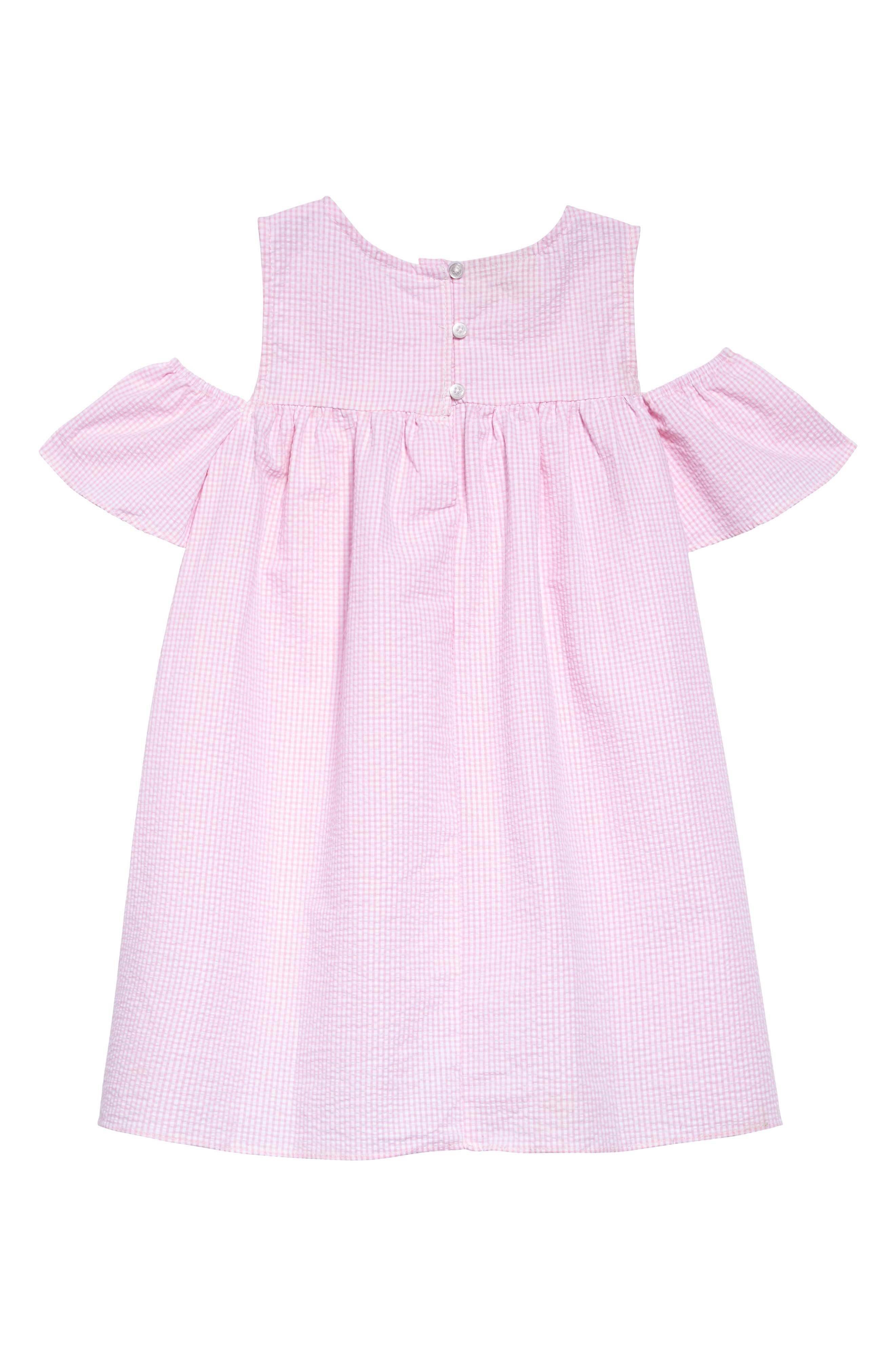 Cold Shoulder Dress,                             Alternate thumbnail 2, color,                             Pink White