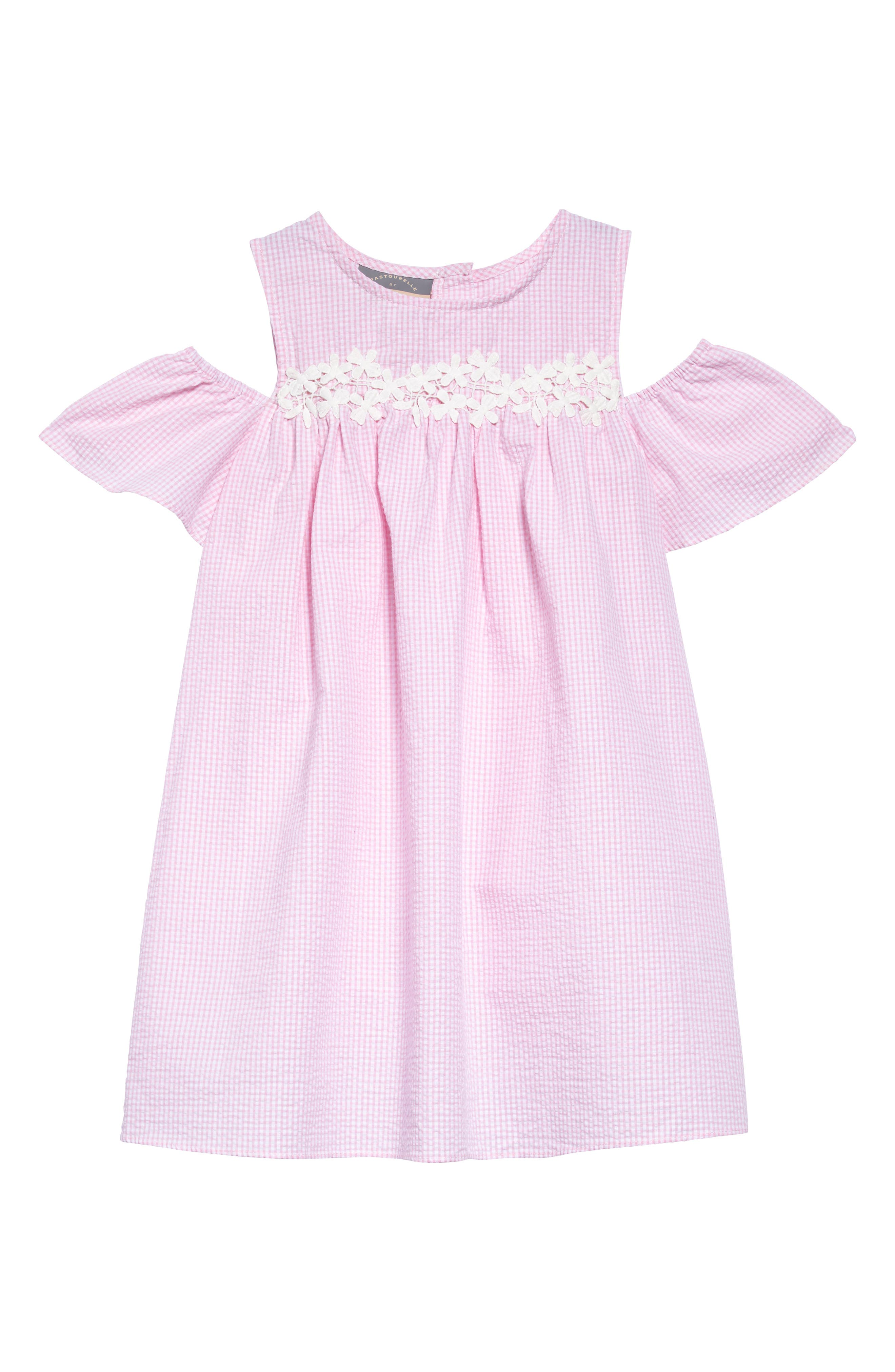 Cold Shoulder Dress,                         Main,                         color, Pink White