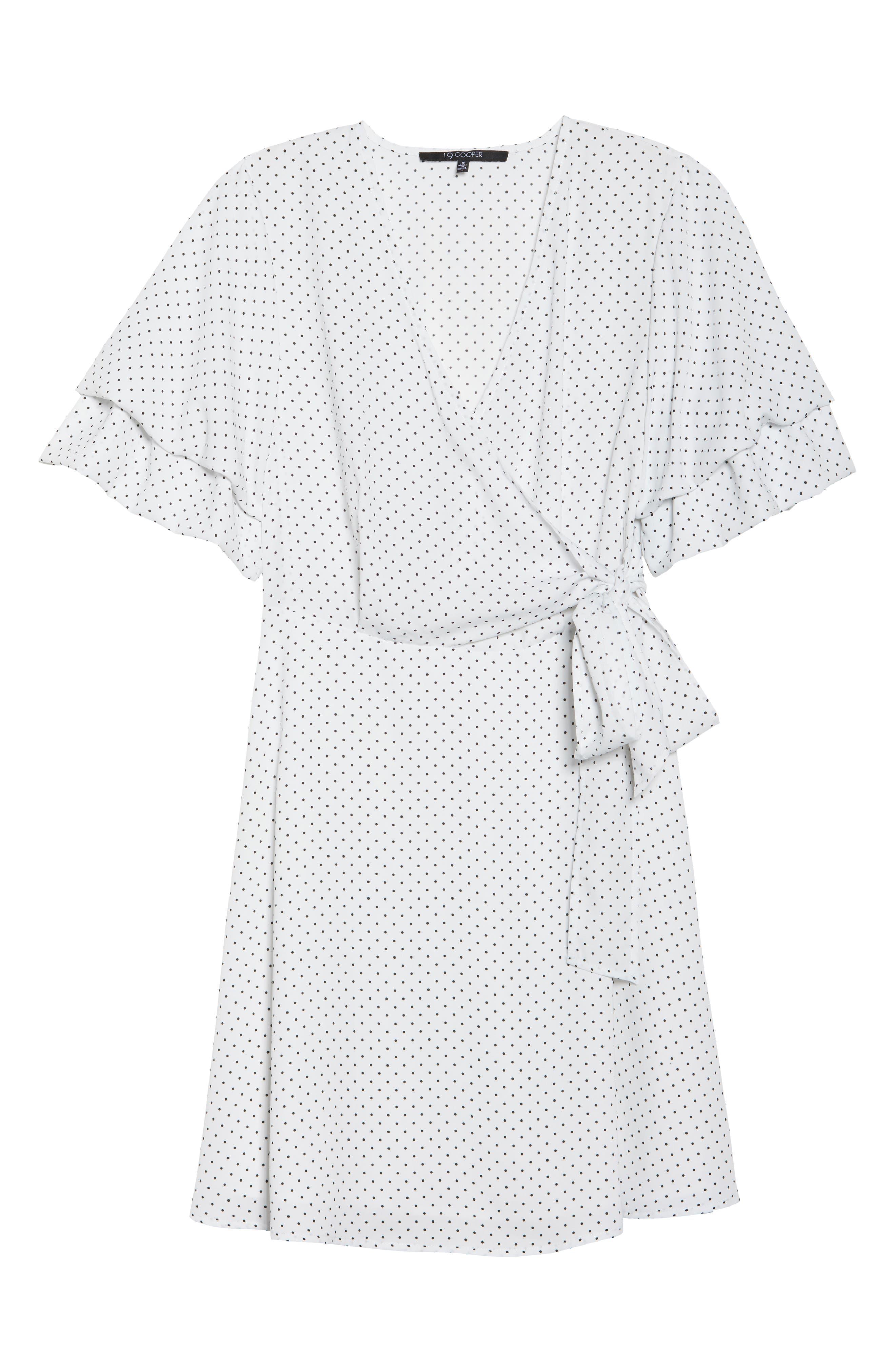 Polka Dot Faux Wrap Dress,                             Alternate thumbnail 6, color,                             White/ Black