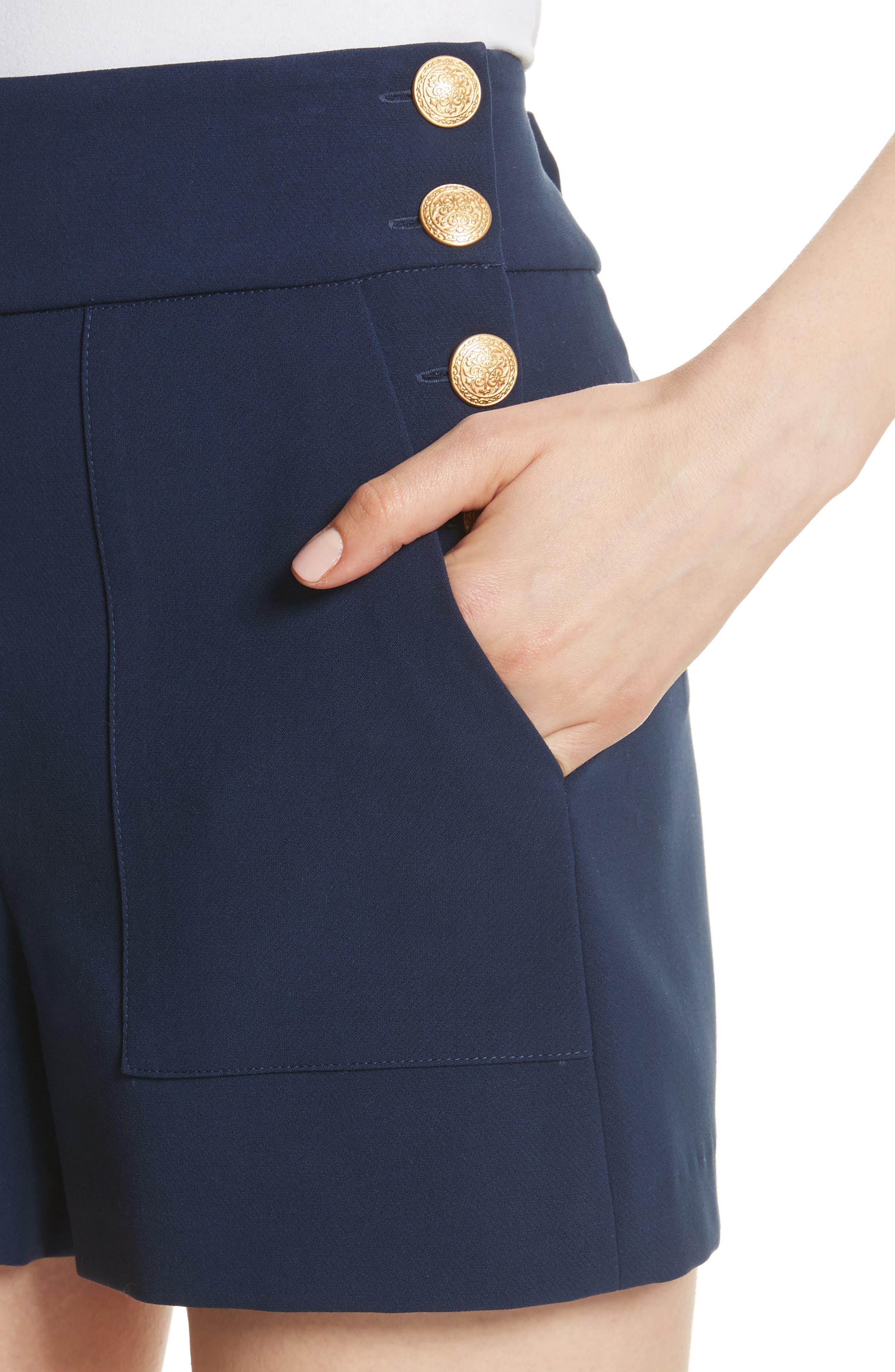 Donald High Waist Sailor Shorts,                             Alternate thumbnail 4, color,                             Sapphire