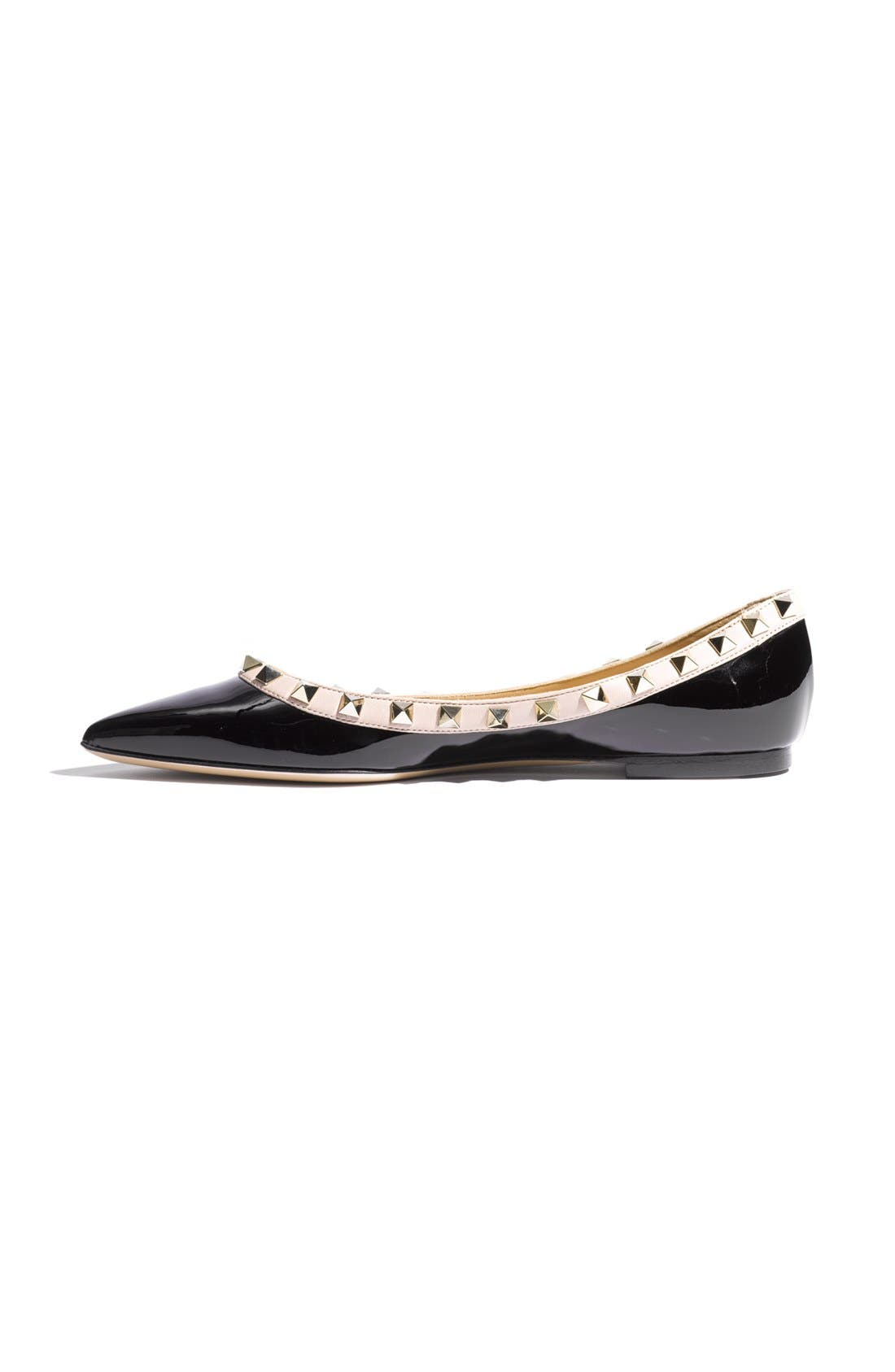 Rockstud Ballerina Flat,                             Alternate thumbnail 3, color,                             Black/ Blush