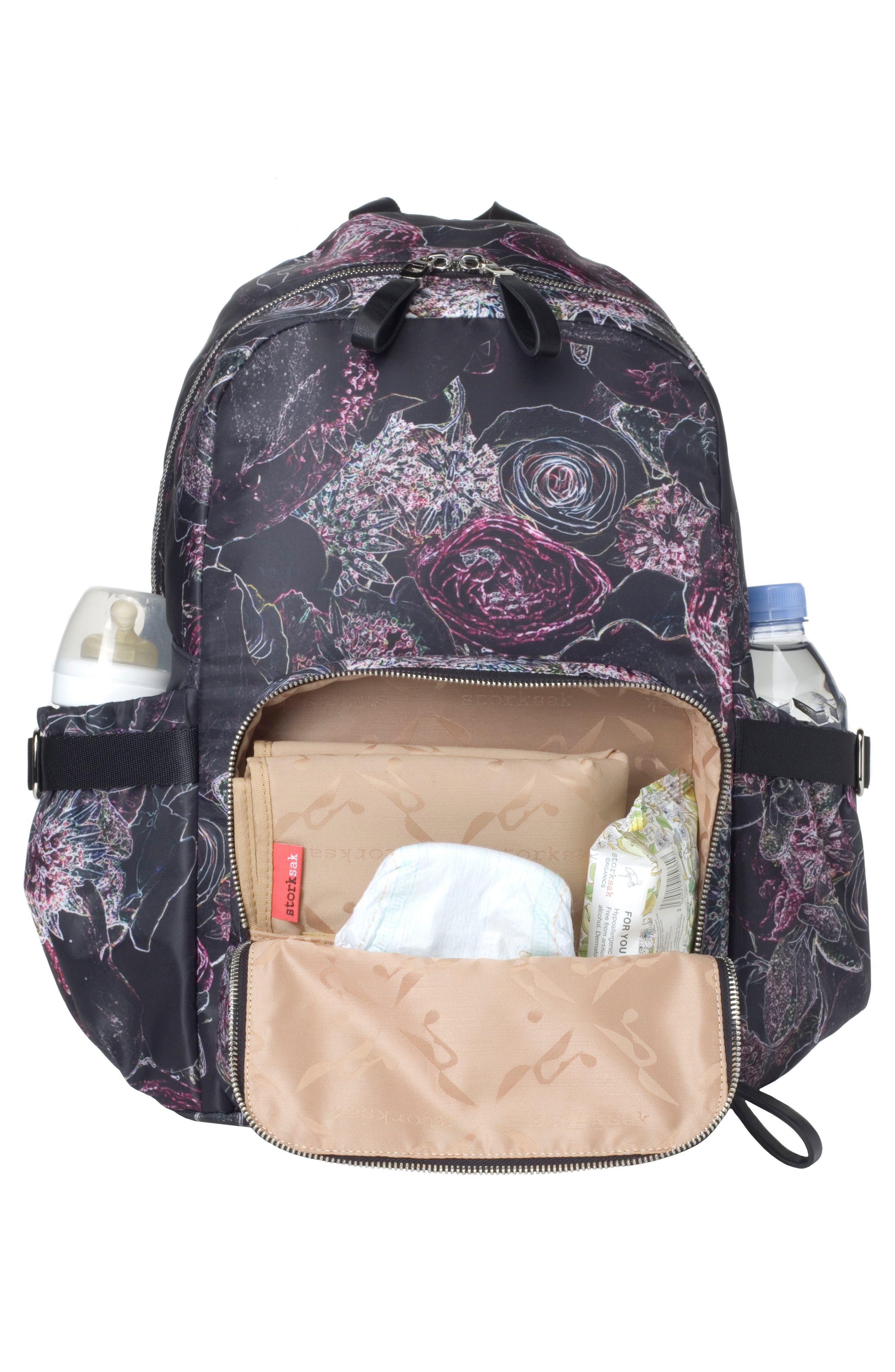 Hero Water Resistant Nylon Backpack Diaper Bag,                             Alternate thumbnail 4, color,                             Neon Floral