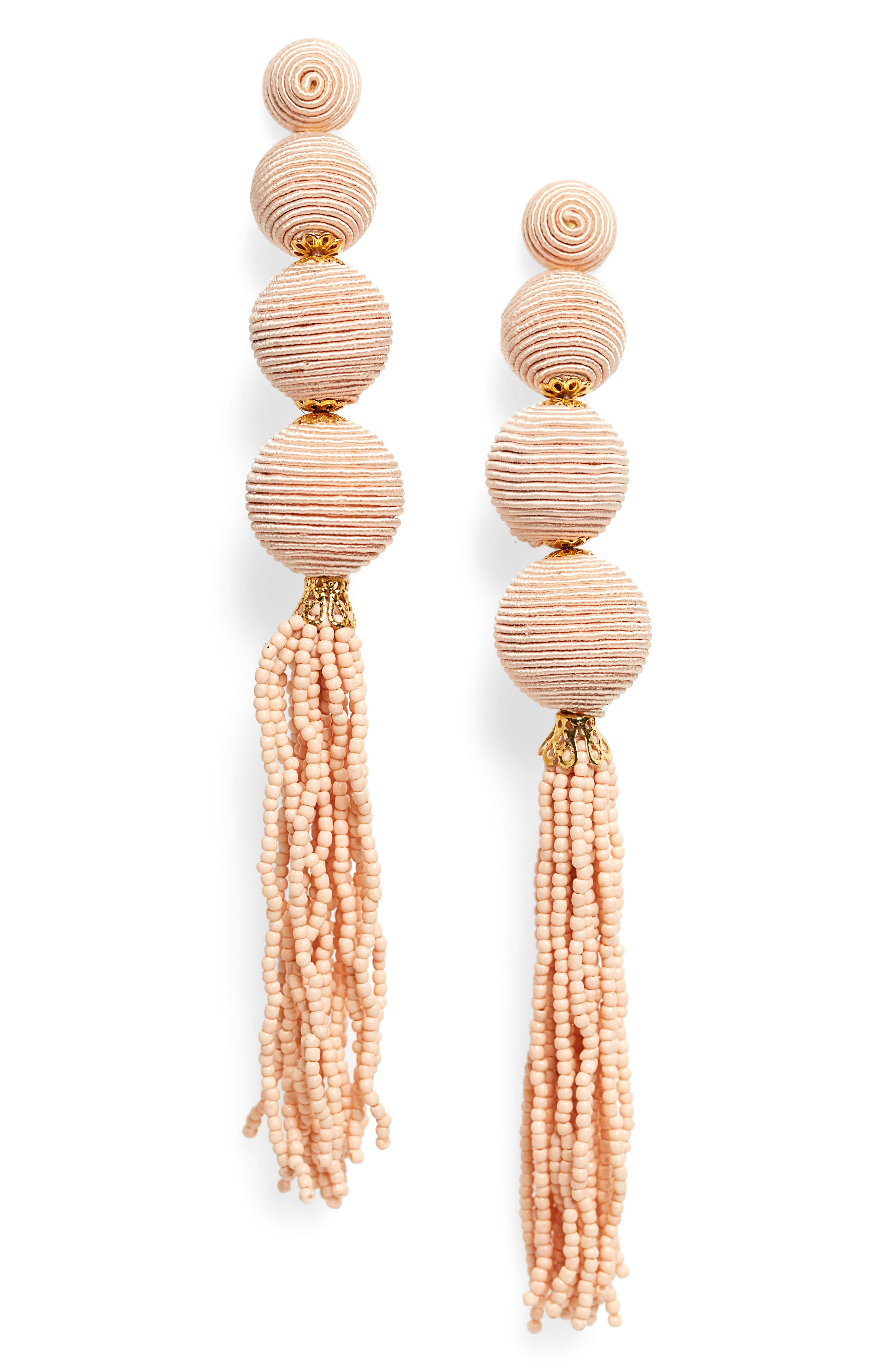 Wrapped Ball & Tassel Statement Earrings,                             Main thumbnail 1, color,                             Beige