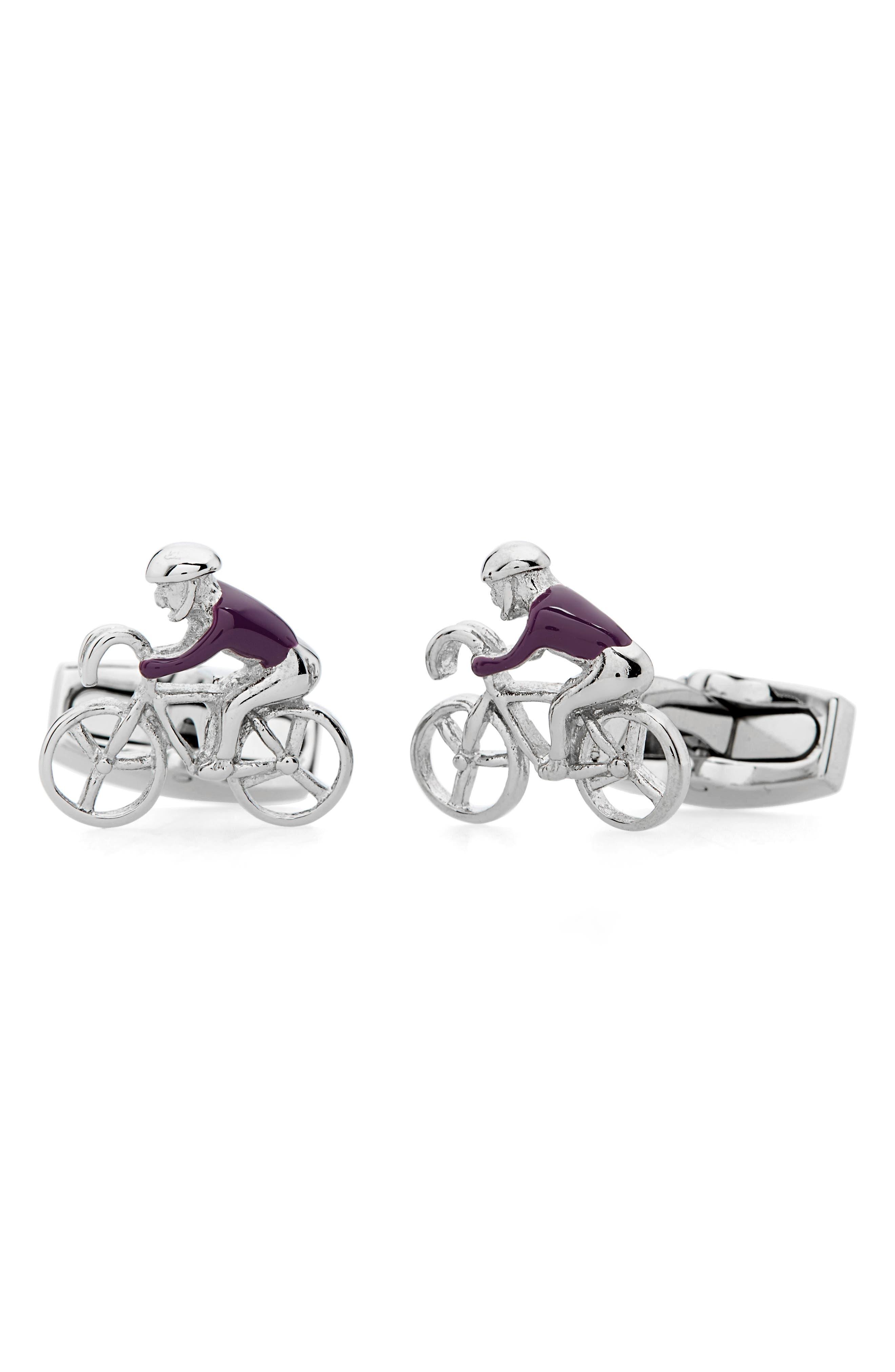Kahne Bike Cuff Links,                         Main,                         color, Purple