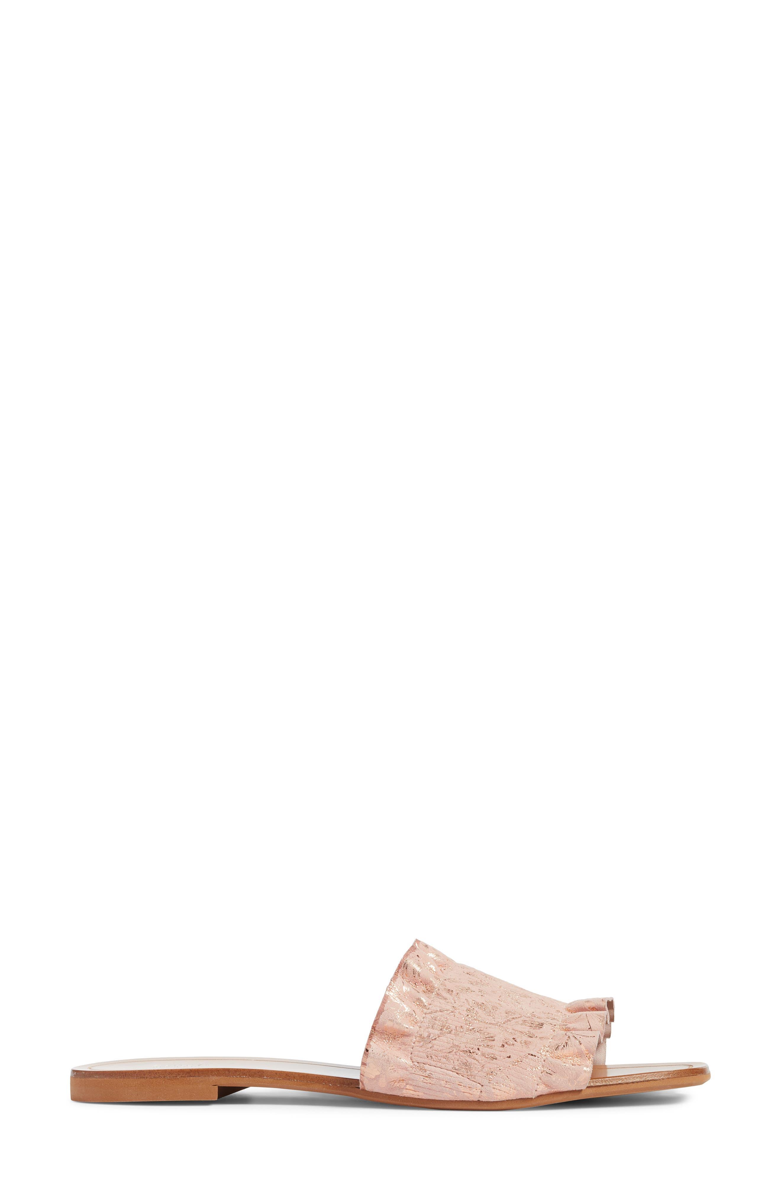 Cassandra Ruffle Slide Sandal,                             Alternate thumbnail 3, color,                             Rose Gold Leather