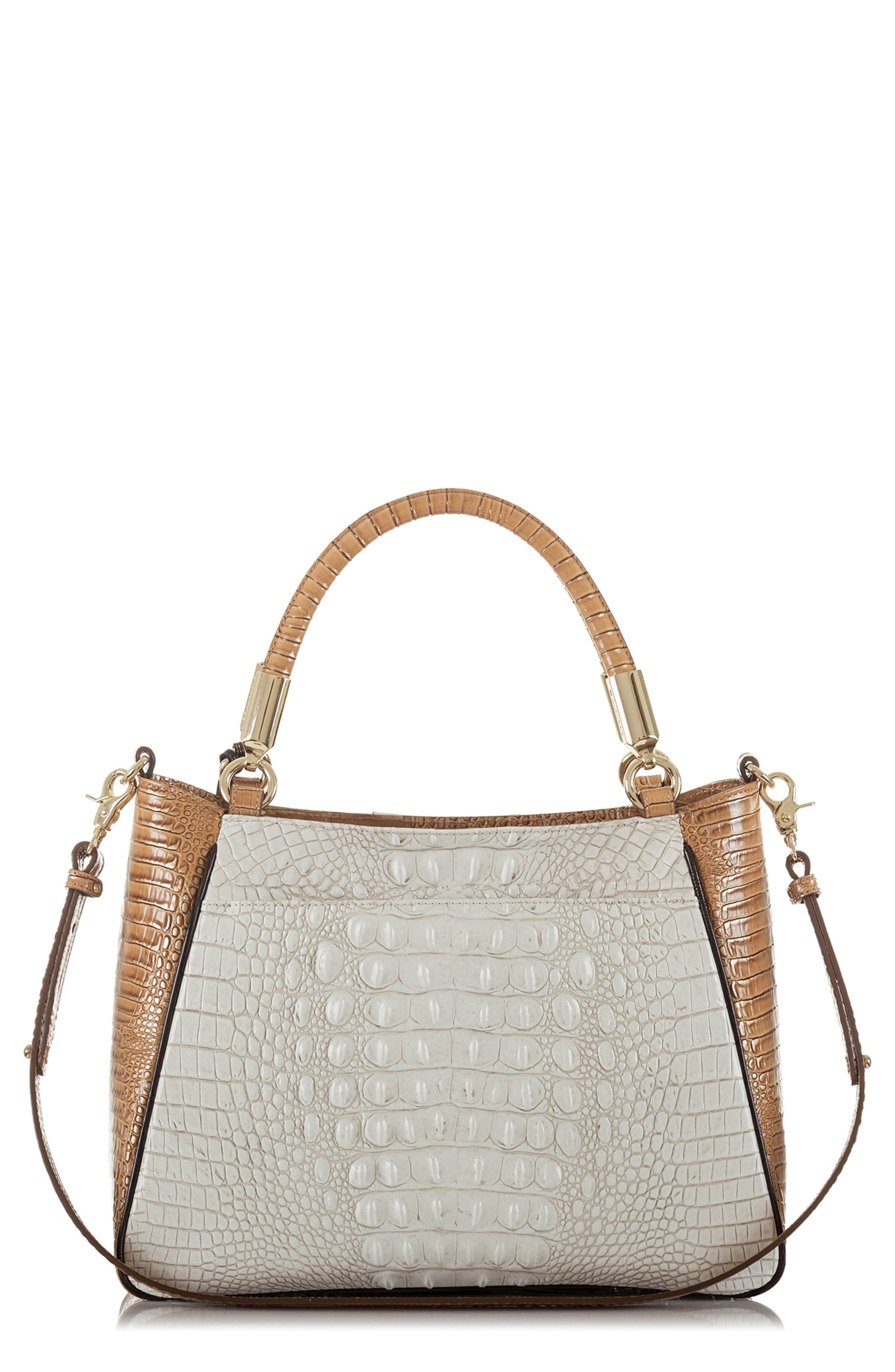 Ruby Croc Embossed Leather Satchel,                             Main thumbnail 1, color,                             Coconut Kedima