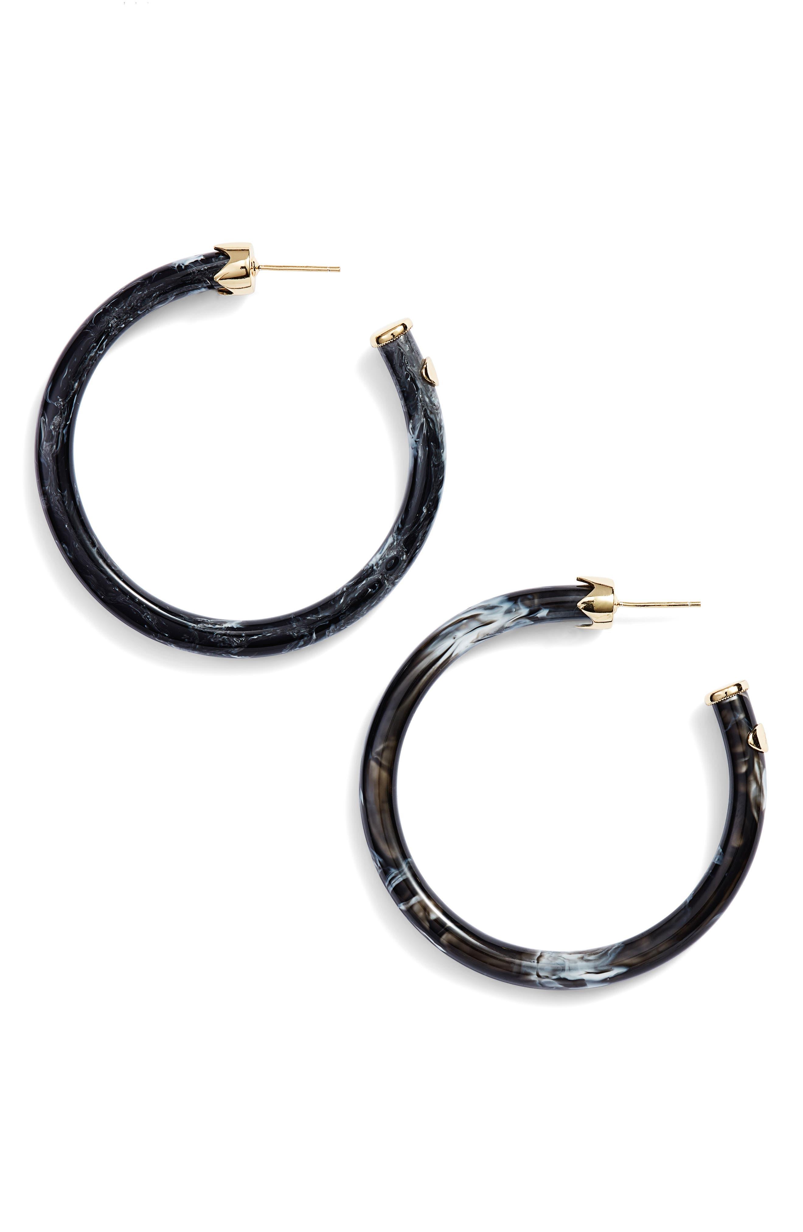Marbleized Hoop Earrings,                             Main thumbnail 1, color,                             Gold/ Black