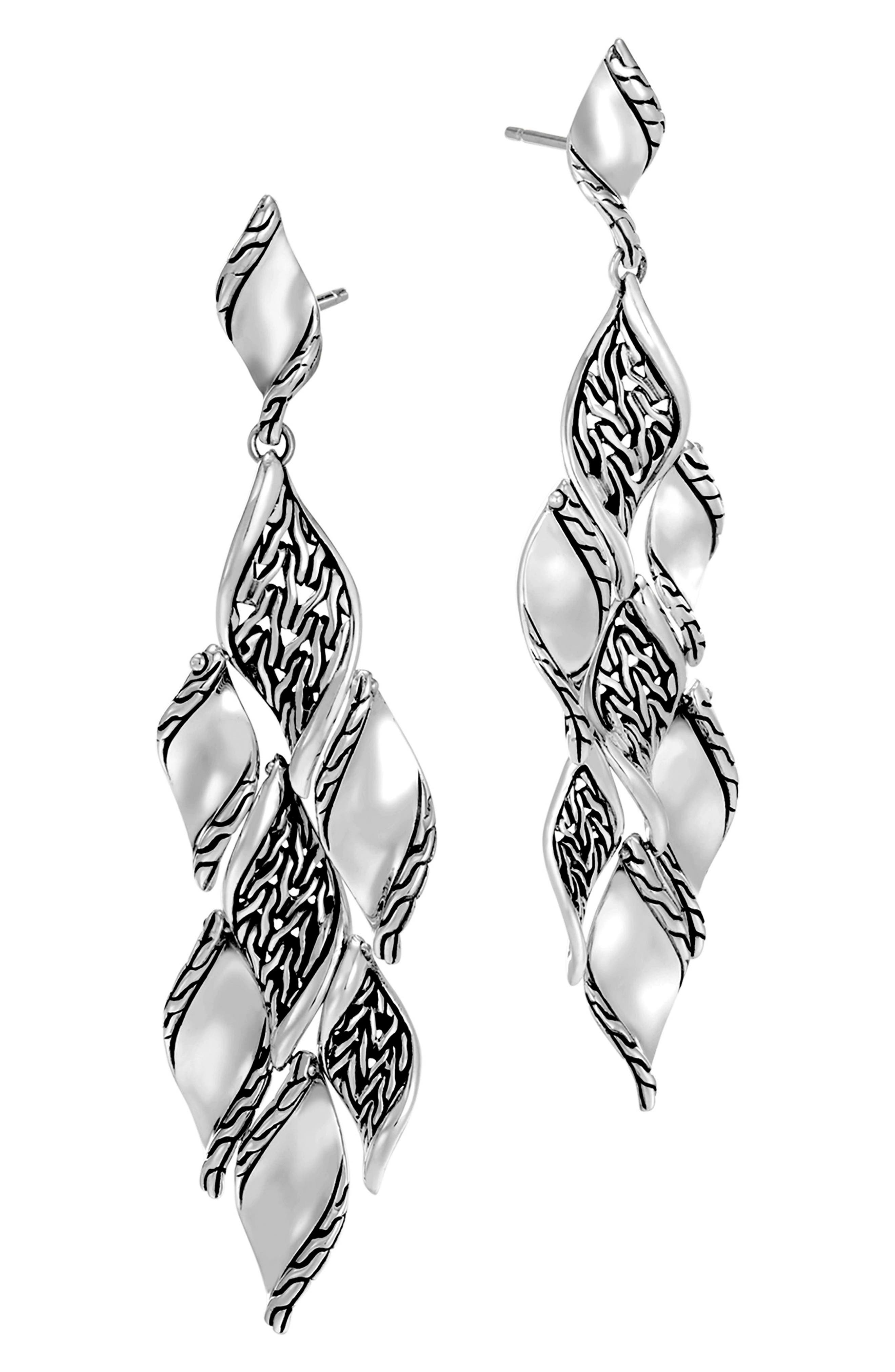 Classic Wave Silver Drop Earrings,                             Alternate thumbnail 3, color,                             Silver