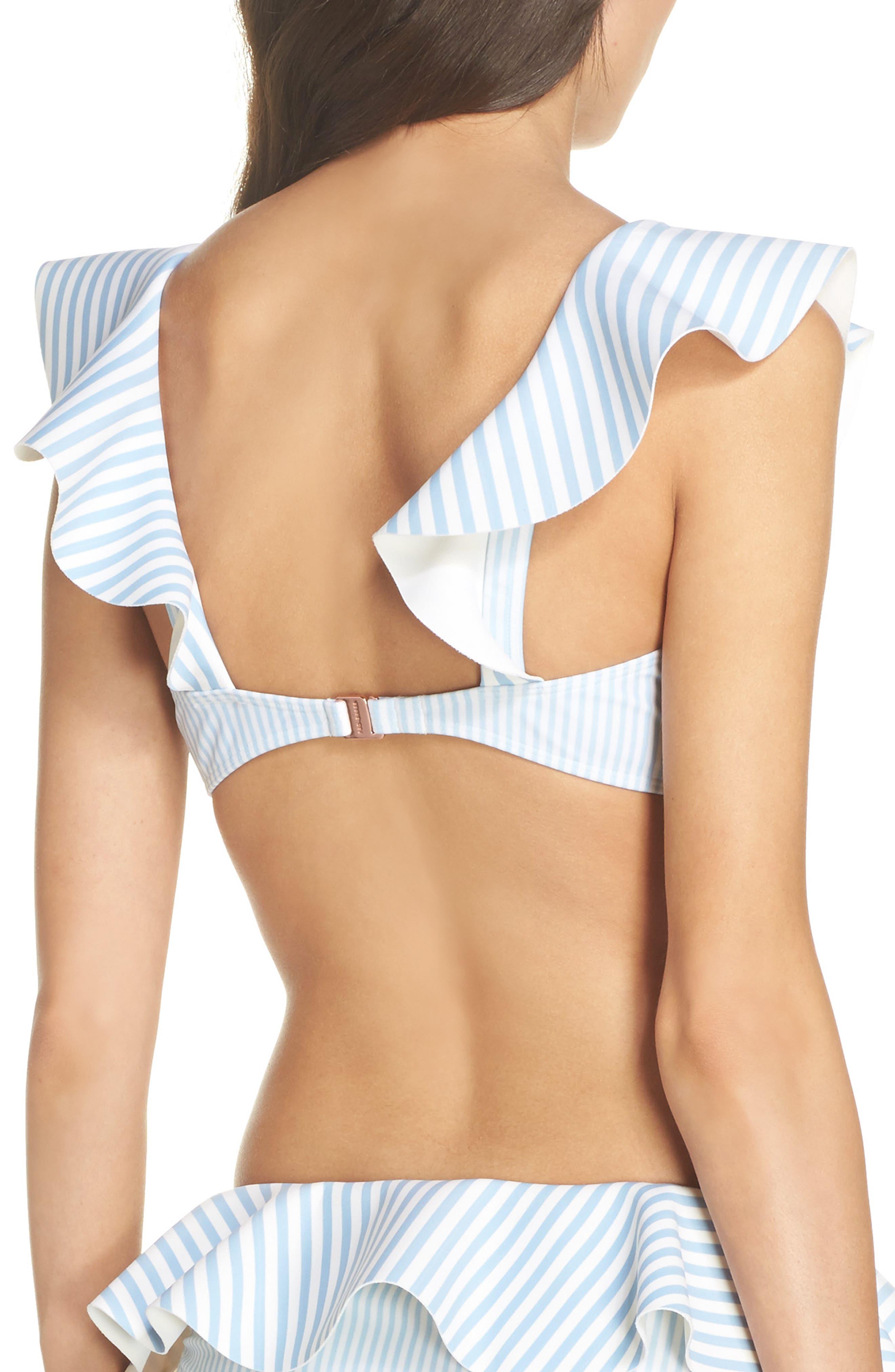 Stripe Ruffle Bikini Top,                             Alternate thumbnail 2, color,                             Pale Blue