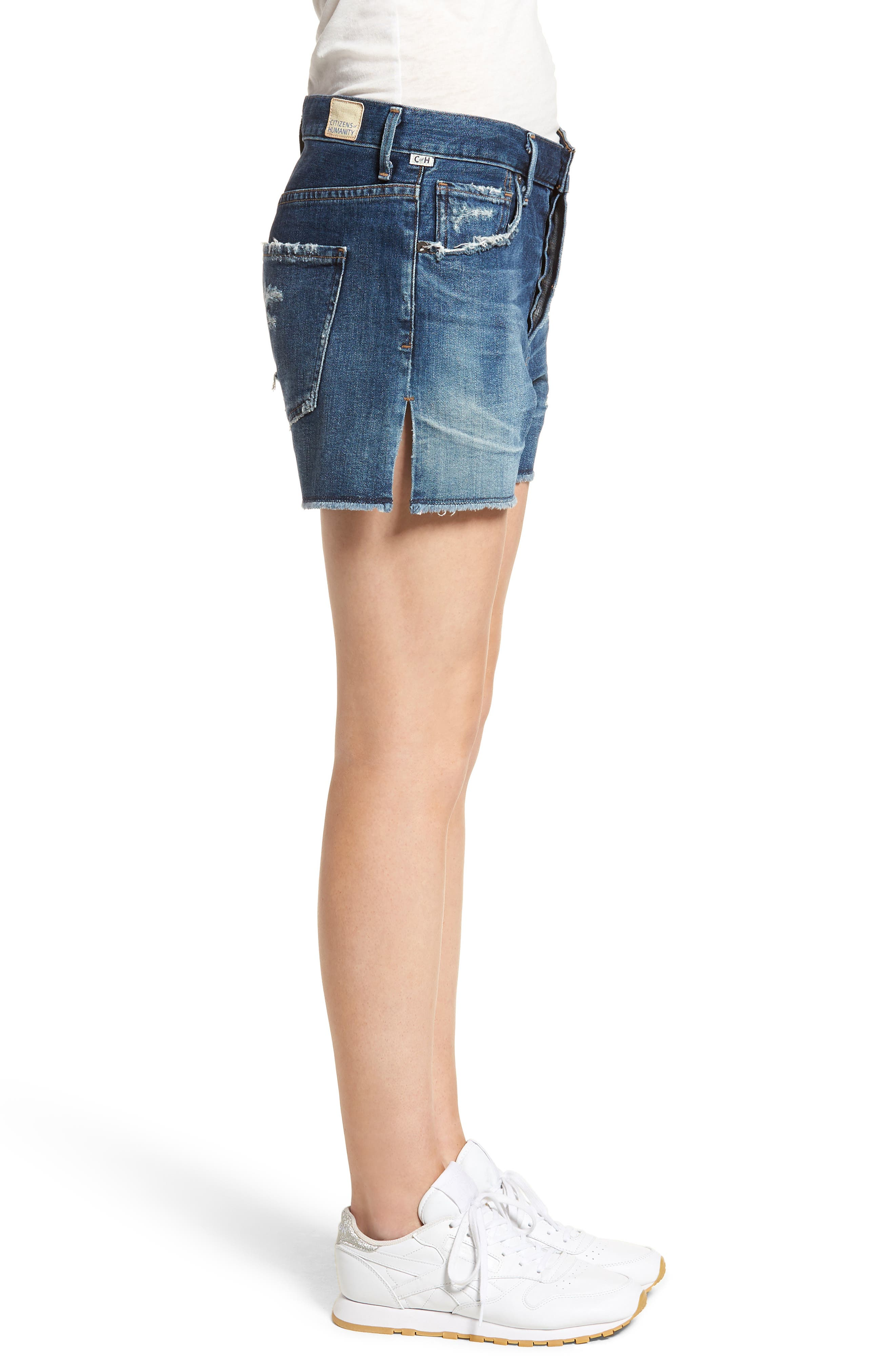Corey Distressed Slouchy Denim Shorts,                             Alternate thumbnail 3, color,                             Ombre