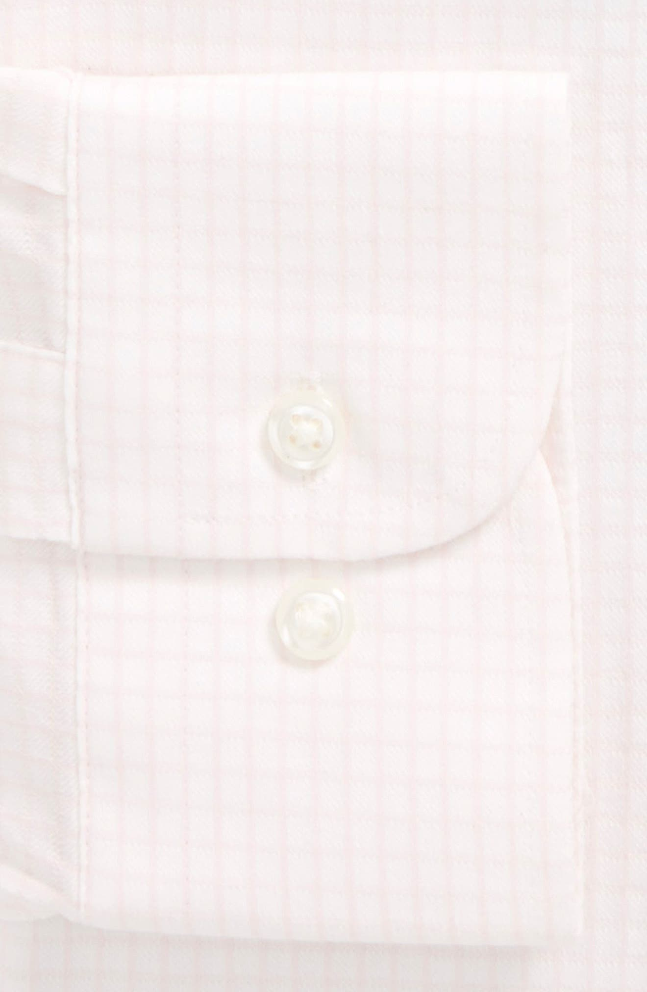 Tech-Smart Traditional Fit Stretch Tattersall Dress Shirt,                             Alternate thumbnail 5, color,                             Pink Breath