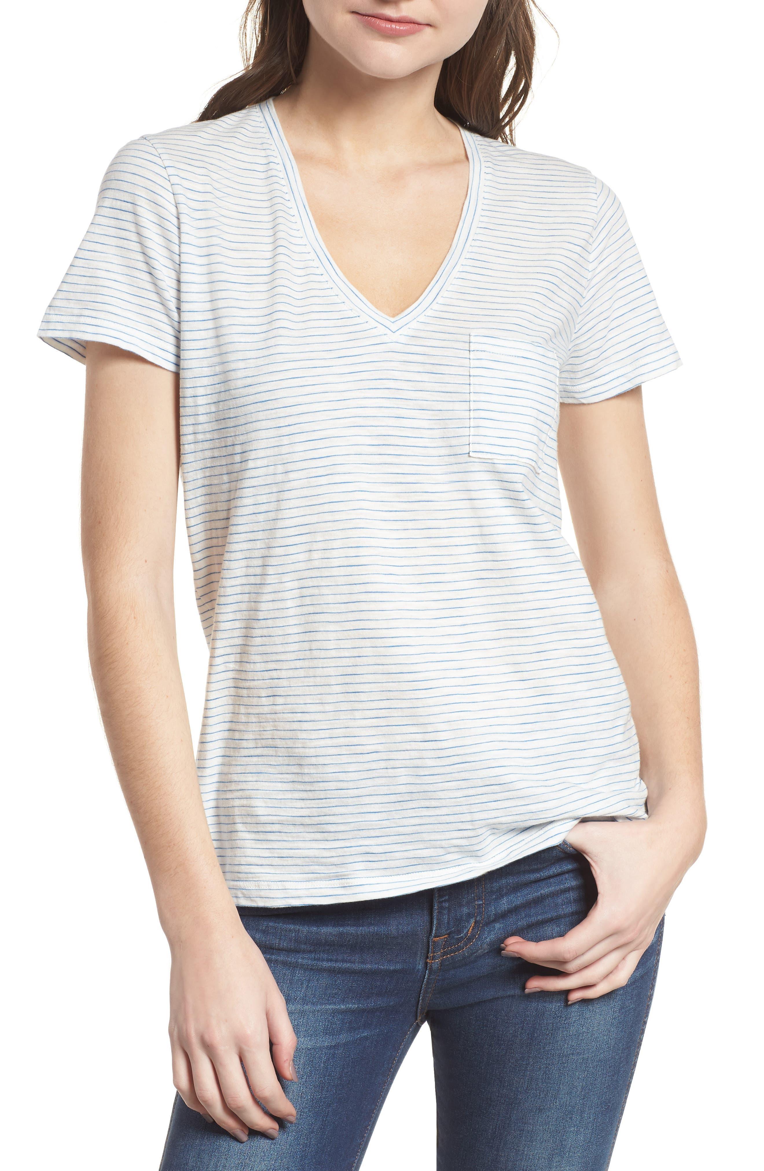 Whisper Cotton Stripe V-Neck Tee,                         Main,                         color, Bright Ivory