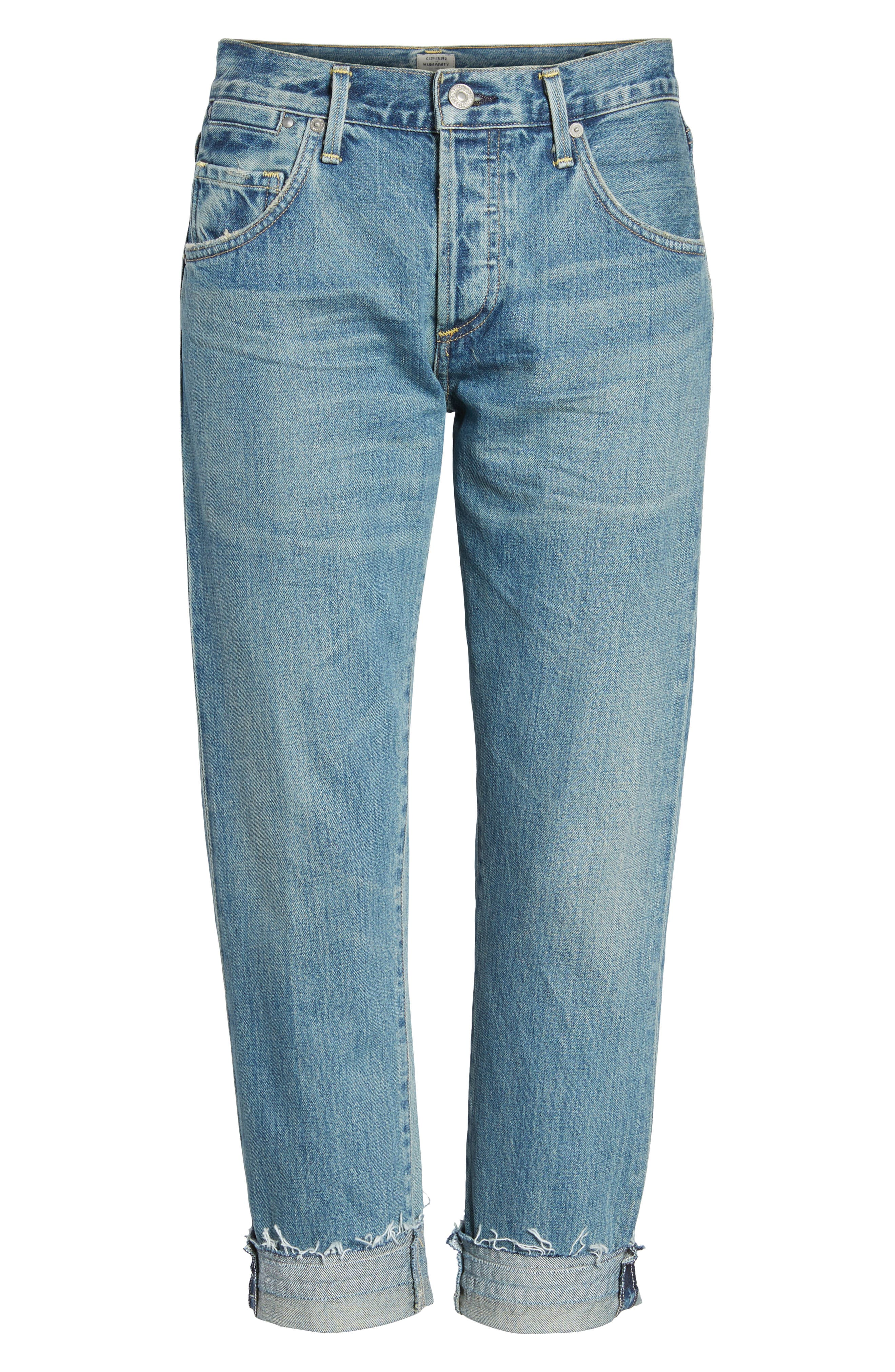 Emerson Crop Slim Boyfriend Jeans,                             Alternate thumbnail 7, color,                             Somerset